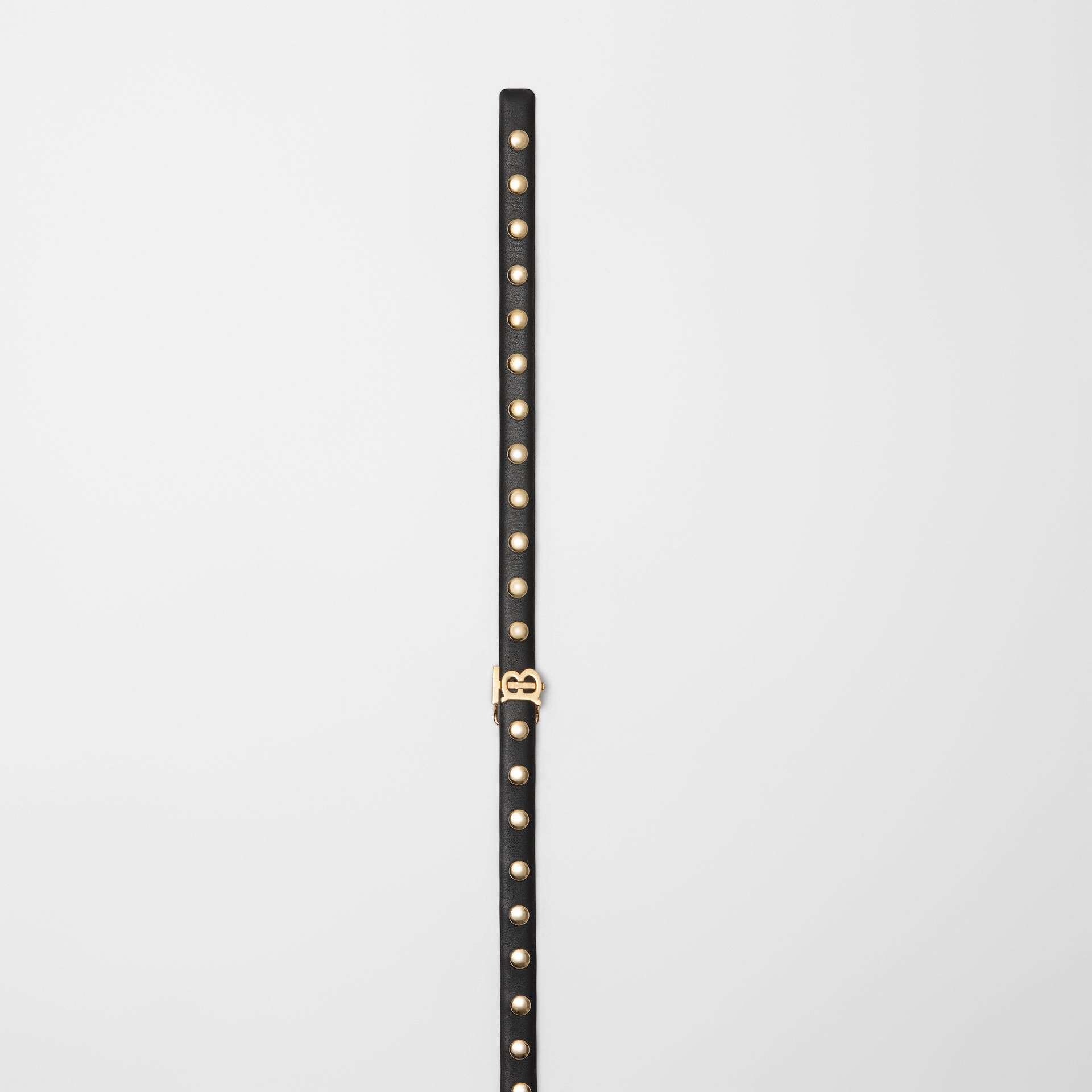 Monogram Motif Studded Leather Belt in Black/light Gold - Women | Burberry - gallery image 1