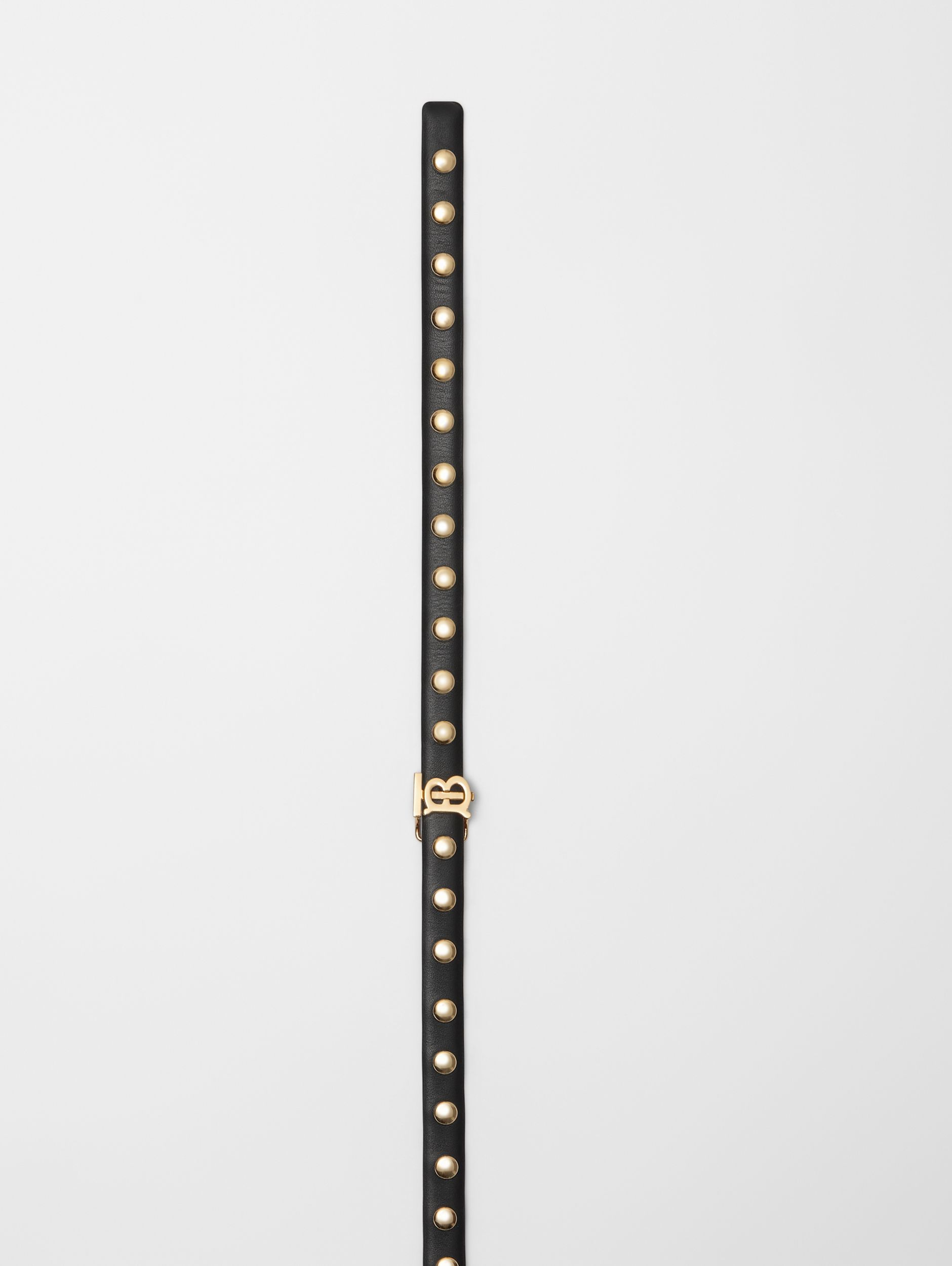 Monogram Motif Studded Leather Belt in Black/light Gold - Women | Burberry - 2