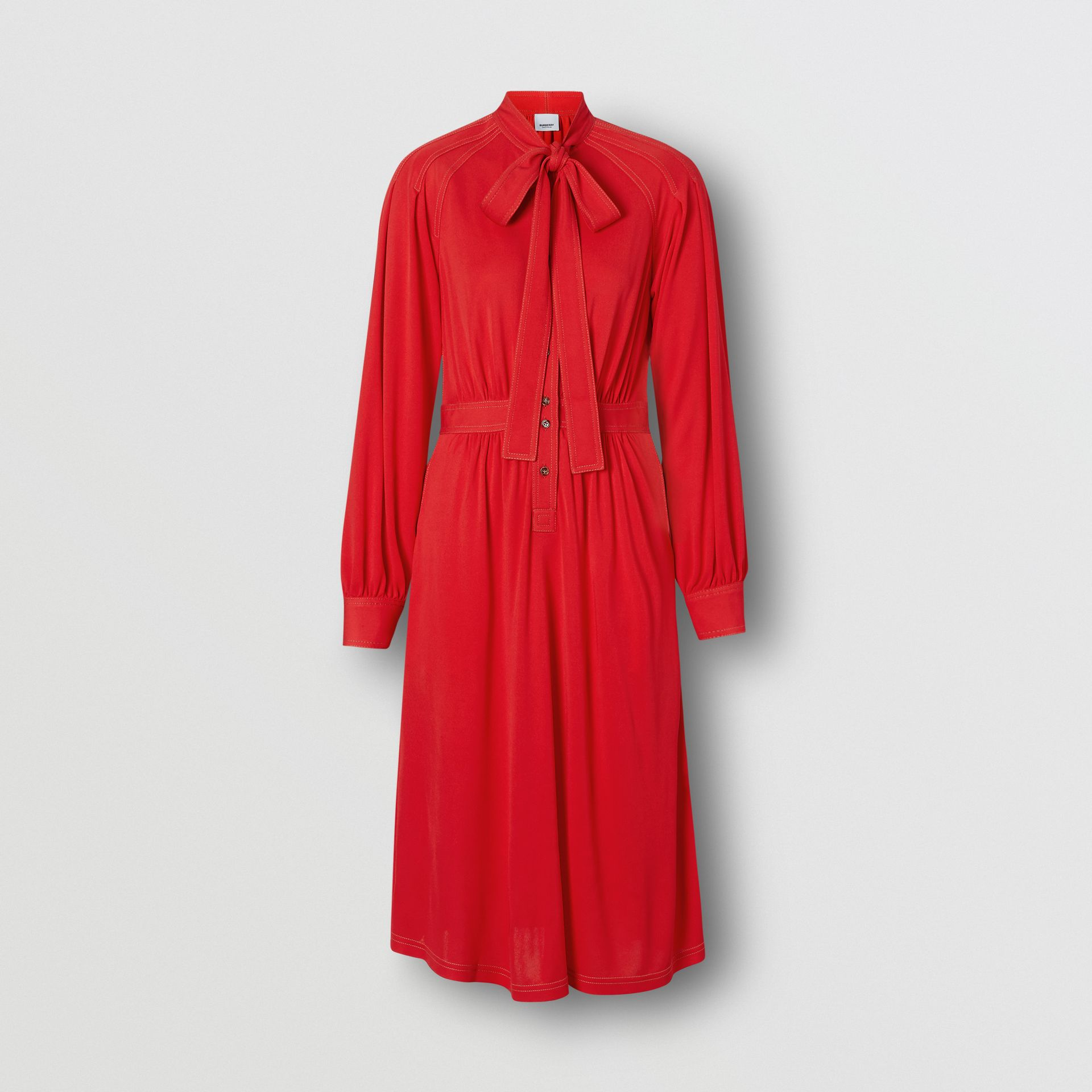 Topstitch Detail Jersey Tie-neck Dress in Bright Red - Women | Burberry - gallery image 3