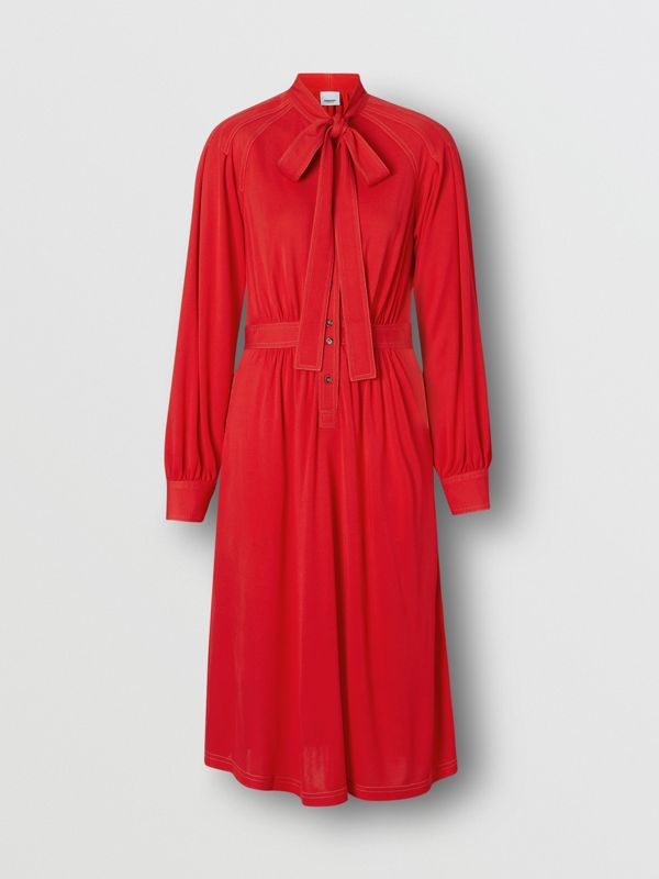 Topstitch Detail Jersey Tie-neck Dress in Bright Red - Women | Burberry United Kingdom - cell image 3