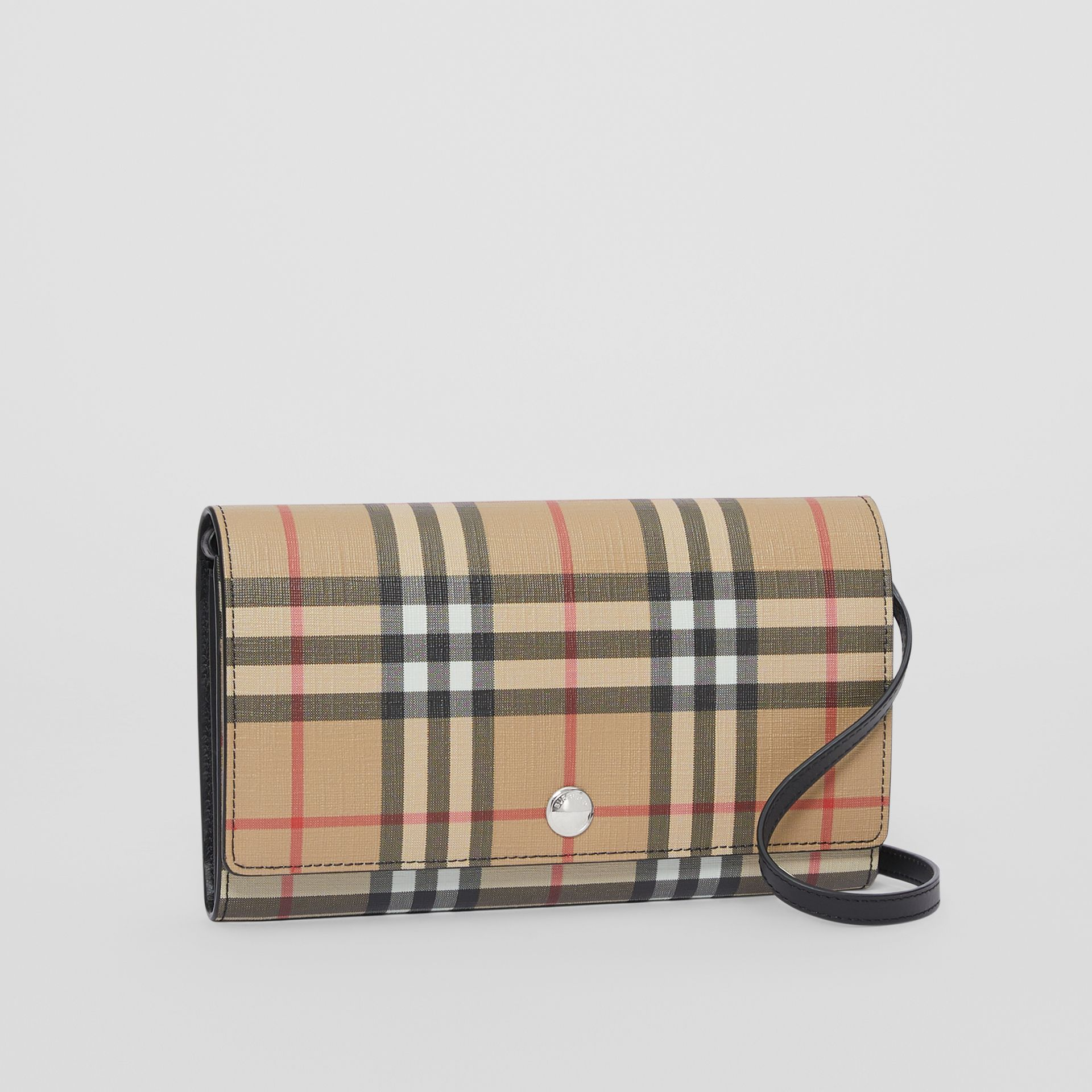 Vintage Check E-canvas Wallet with Detachable Strap in Black - Women | Burberry Canada - gallery image 7
