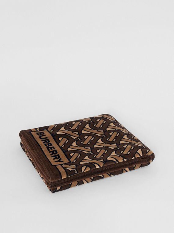 Monogram Print Cotton Towel in Brown