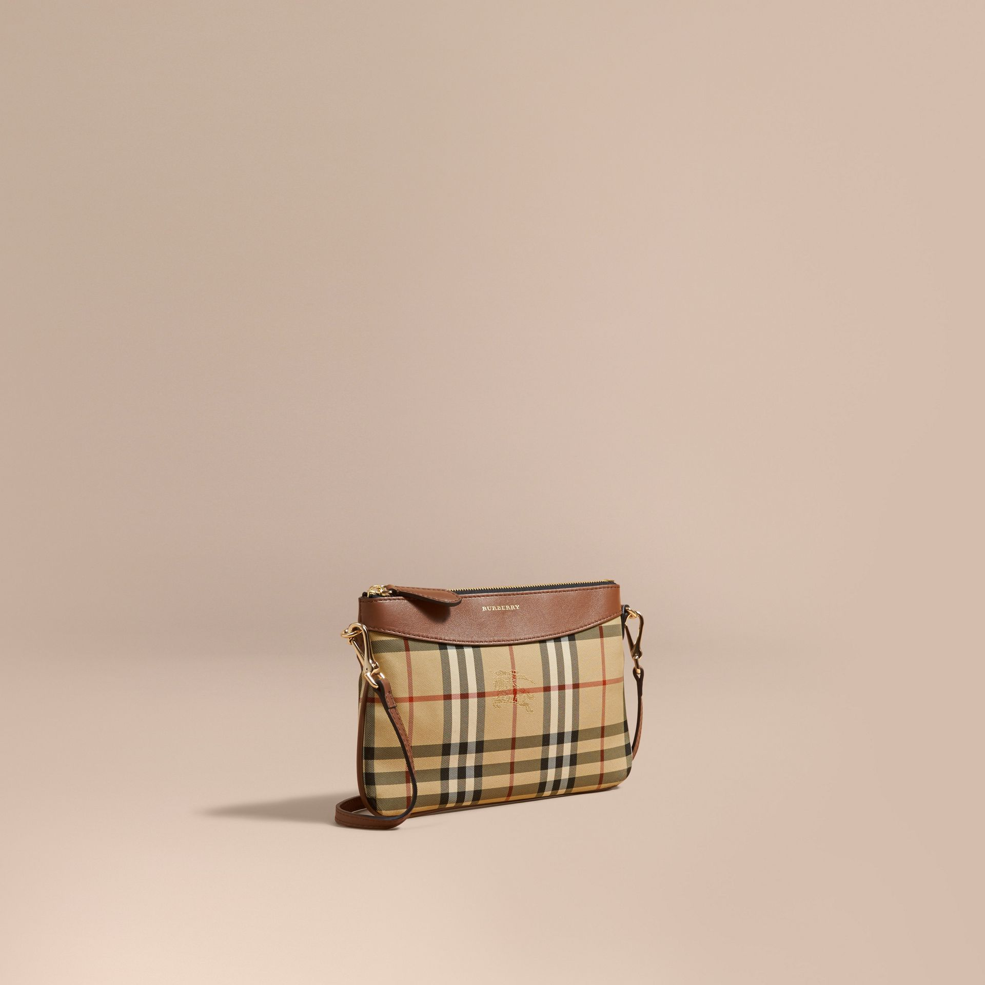 Tan Horseferry Check and Leather Clutch Bag Tan - gallery image 1