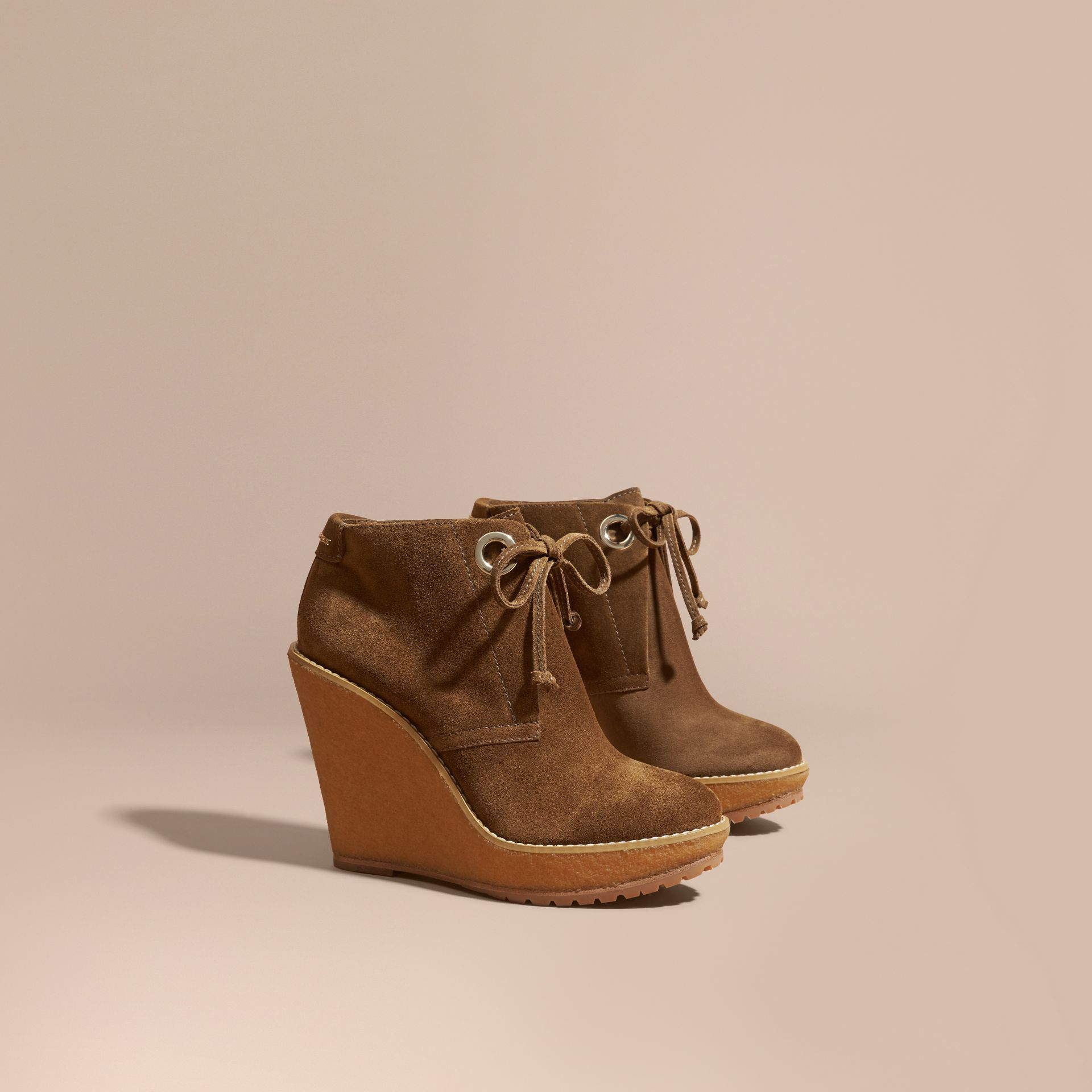 Light oak brown Suede Wedge Ankle Boots - gallery image 1