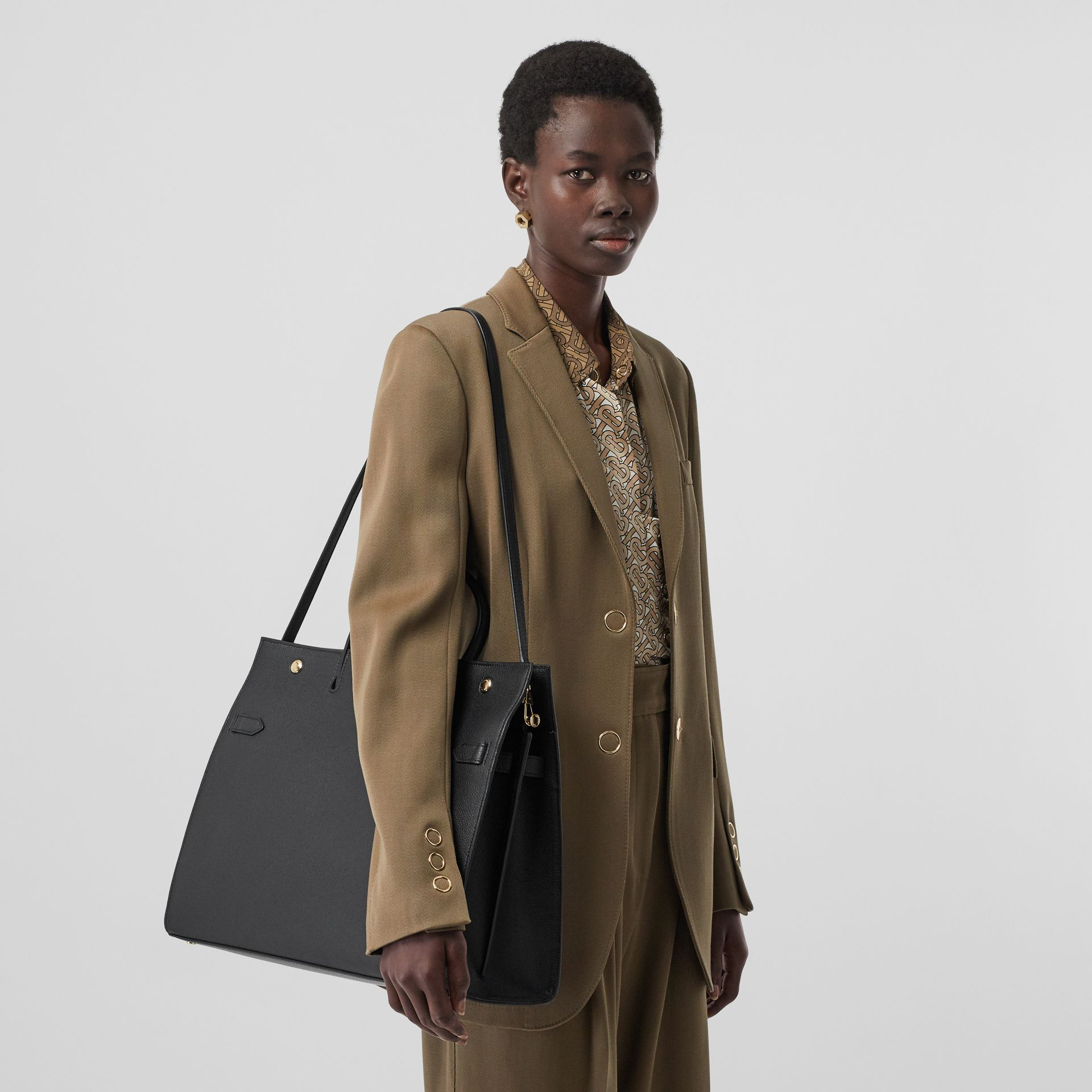 Large Leather Title Bag in Black - Women | Burberry - gallery image 2