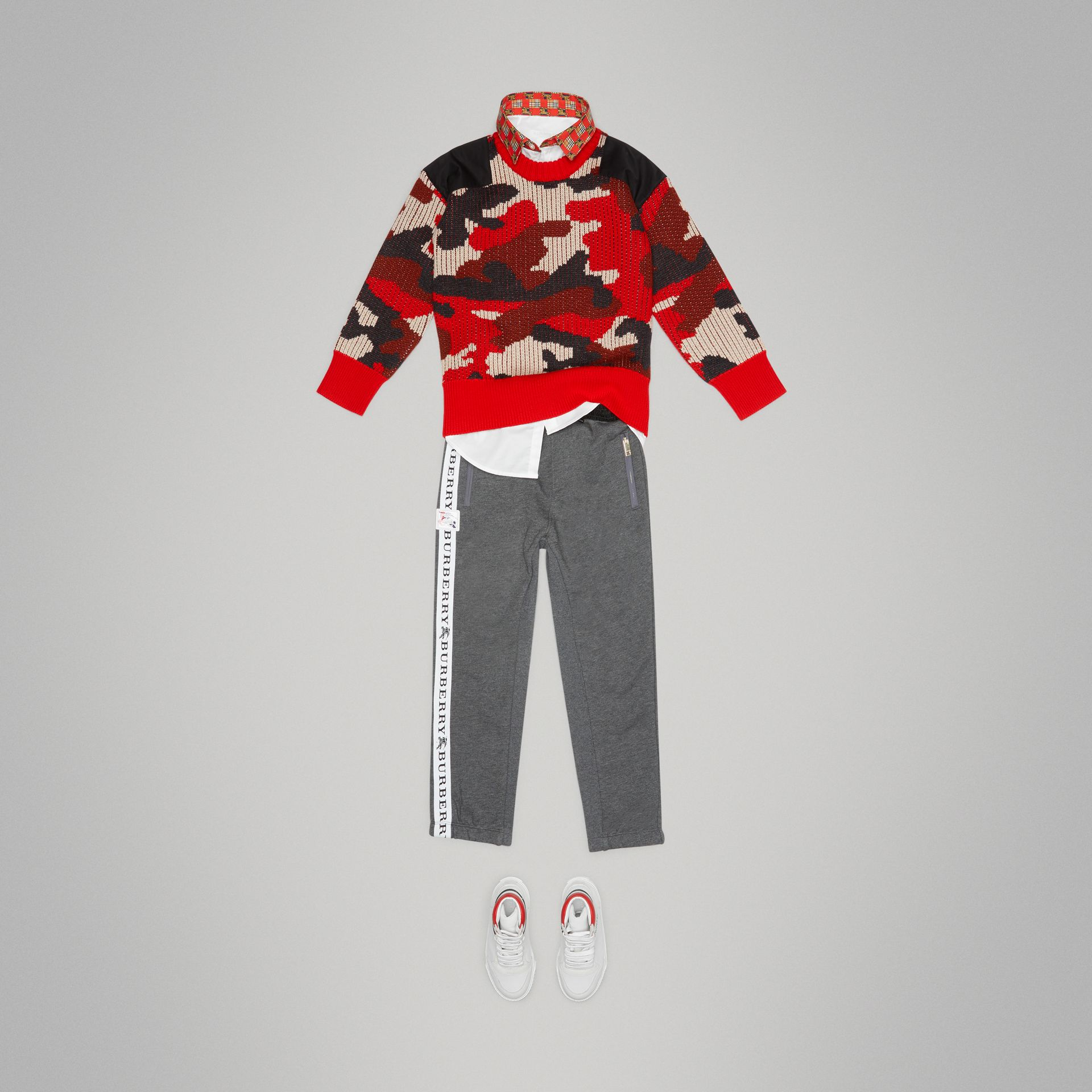 Camouflage Merino Wool Jacquard Sweater in Bright Red - Boy | Burberry - gallery image 2