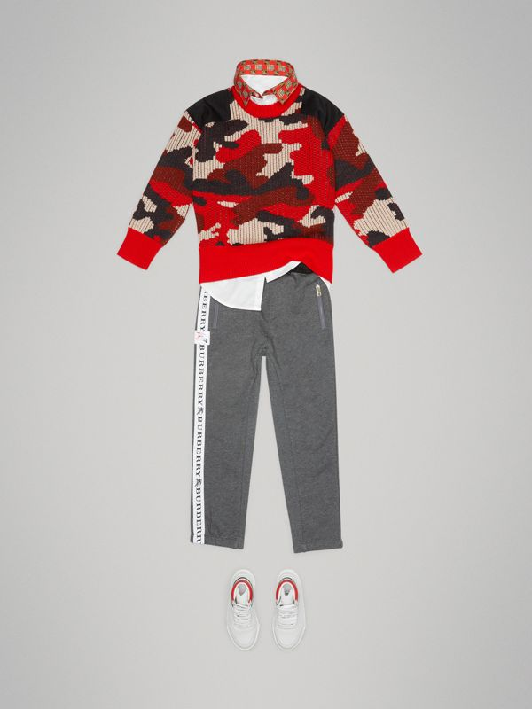 Camouflage Merino Wool Jacquard Sweater in Bright Red | Burberry United States - cell image 2