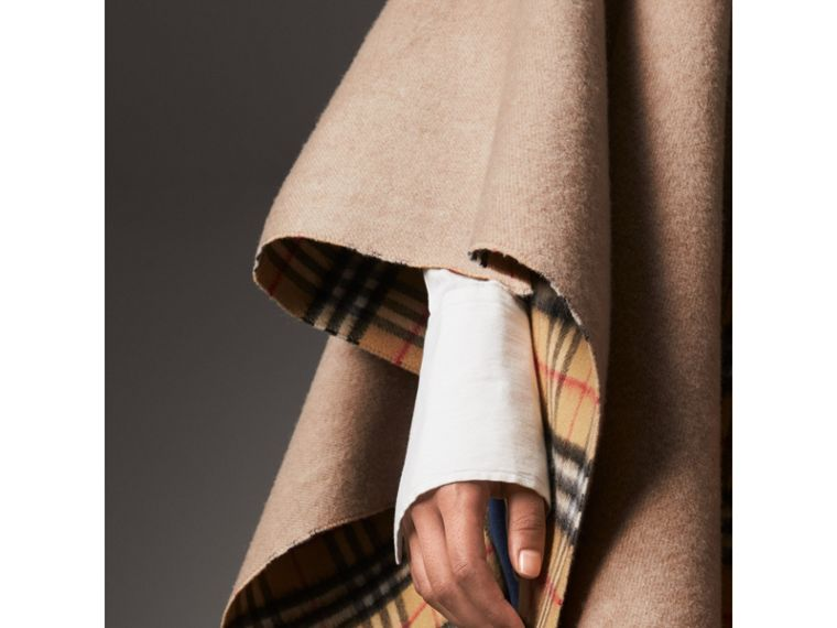Reversible Vintage Check Cashmere Wool Poncho in Sandstone - Women | Burberry - cell image 1