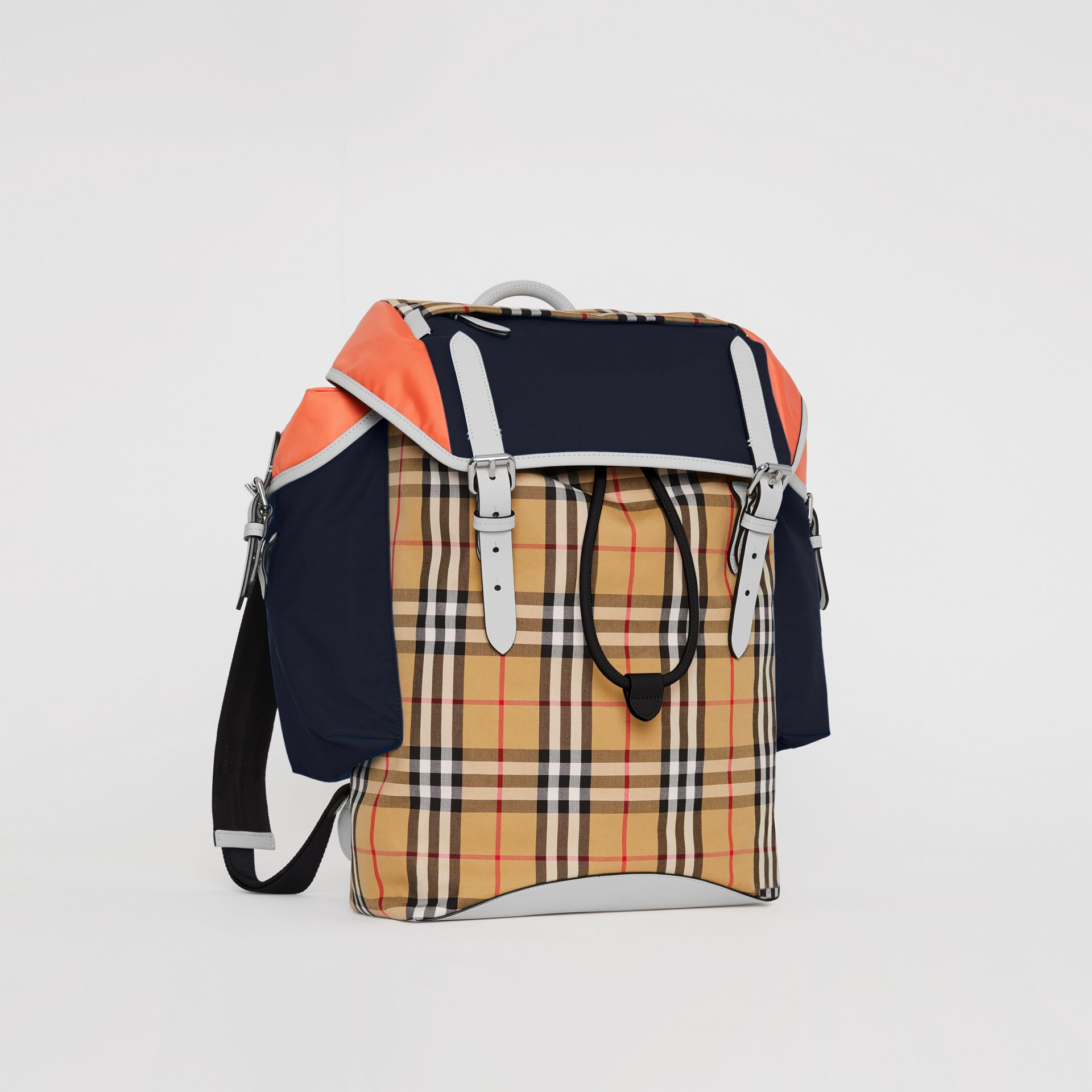 Colour Block Vintage Check and Leather Backpack in Cerulean Blue - Men | Burberry - gallery image 6