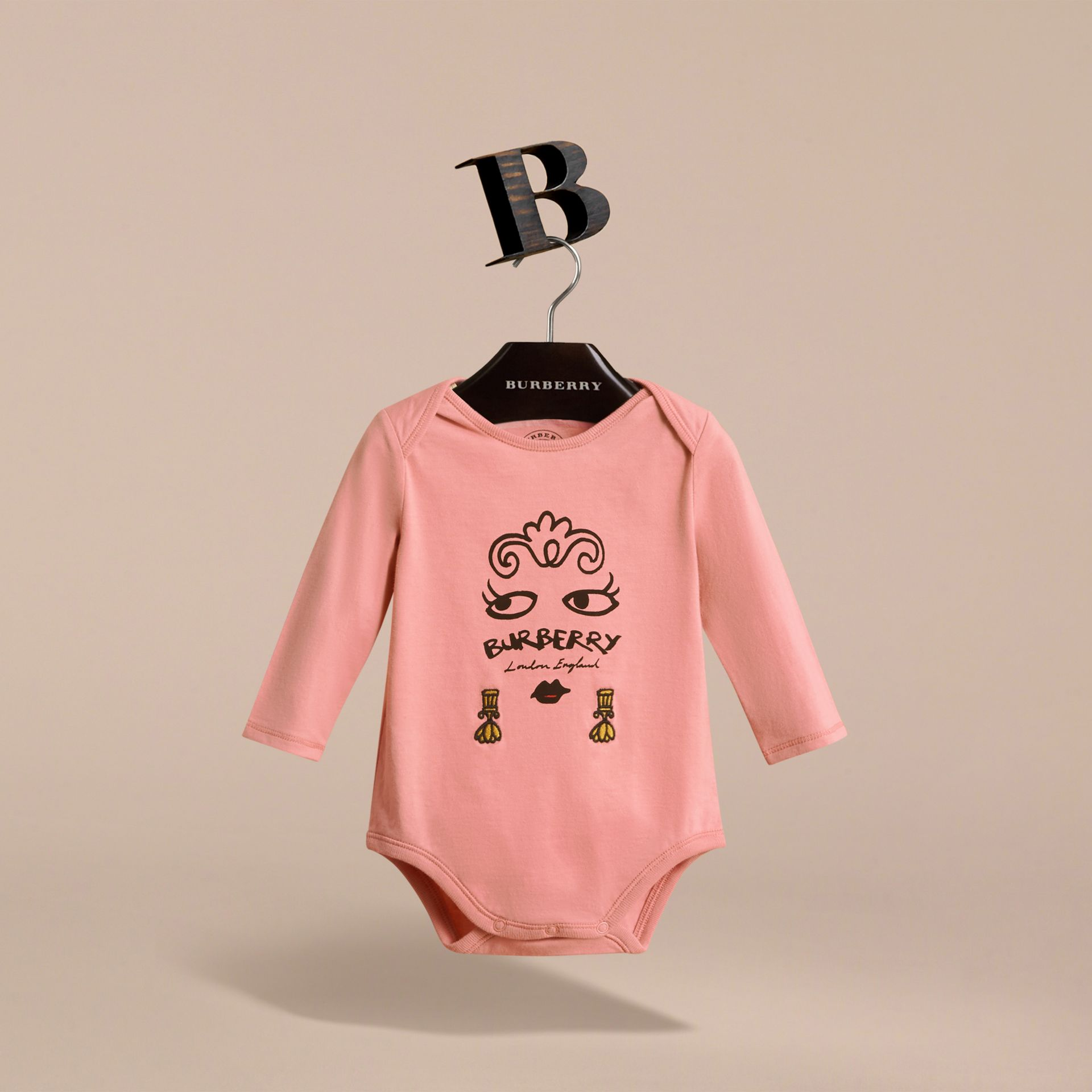 Lady Print Cotton Bodysuit in Apricot Pink | Burberry - gallery image 3