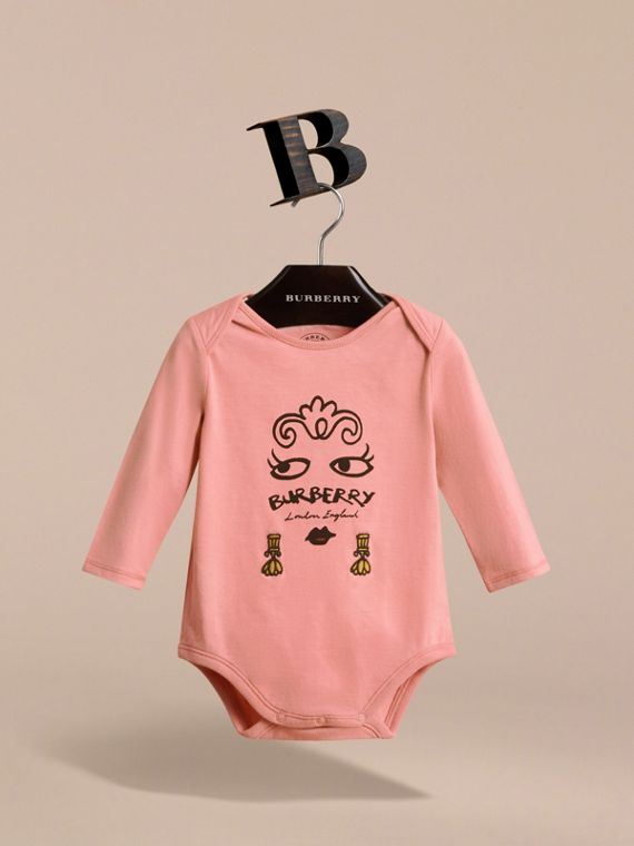 Lady Print Cotton Bodysuit in Apricot Pink | Burberry - cell image 2