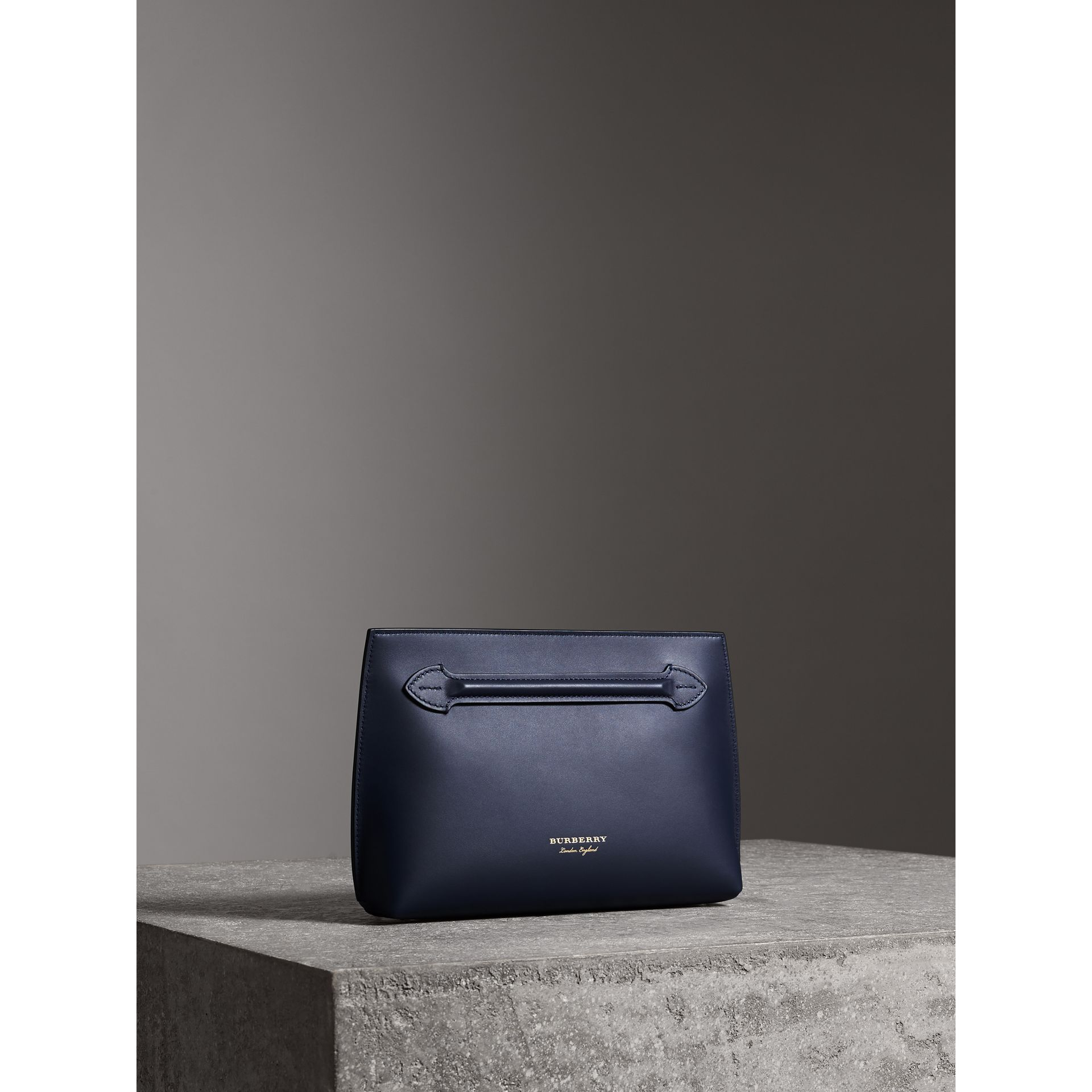 Leather Wristlet Clutch in Mid Indigo - Women | Burberry - gallery image 6