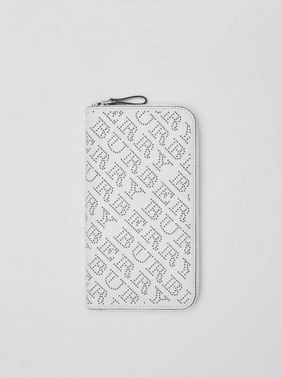 Perforated Leather Ziparound Wallet in White