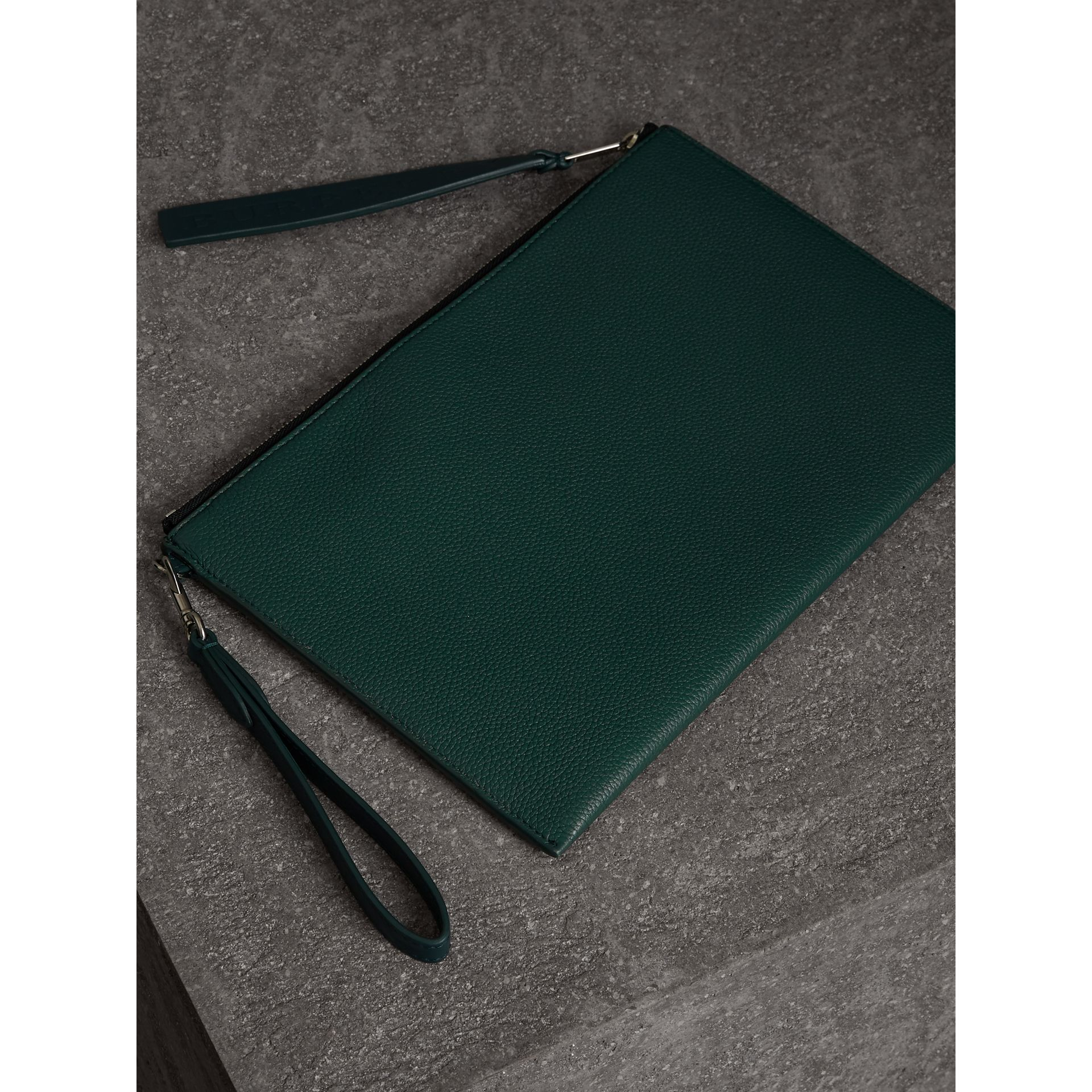 Grainy Leather Zip Pouch in Dark Cyan | Burberry - gallery image 2