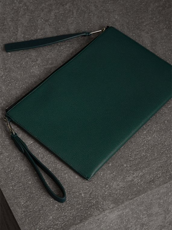 Grainy Leather Zip Pouch in Dark Cyan | Burberry Canada - cell image 2