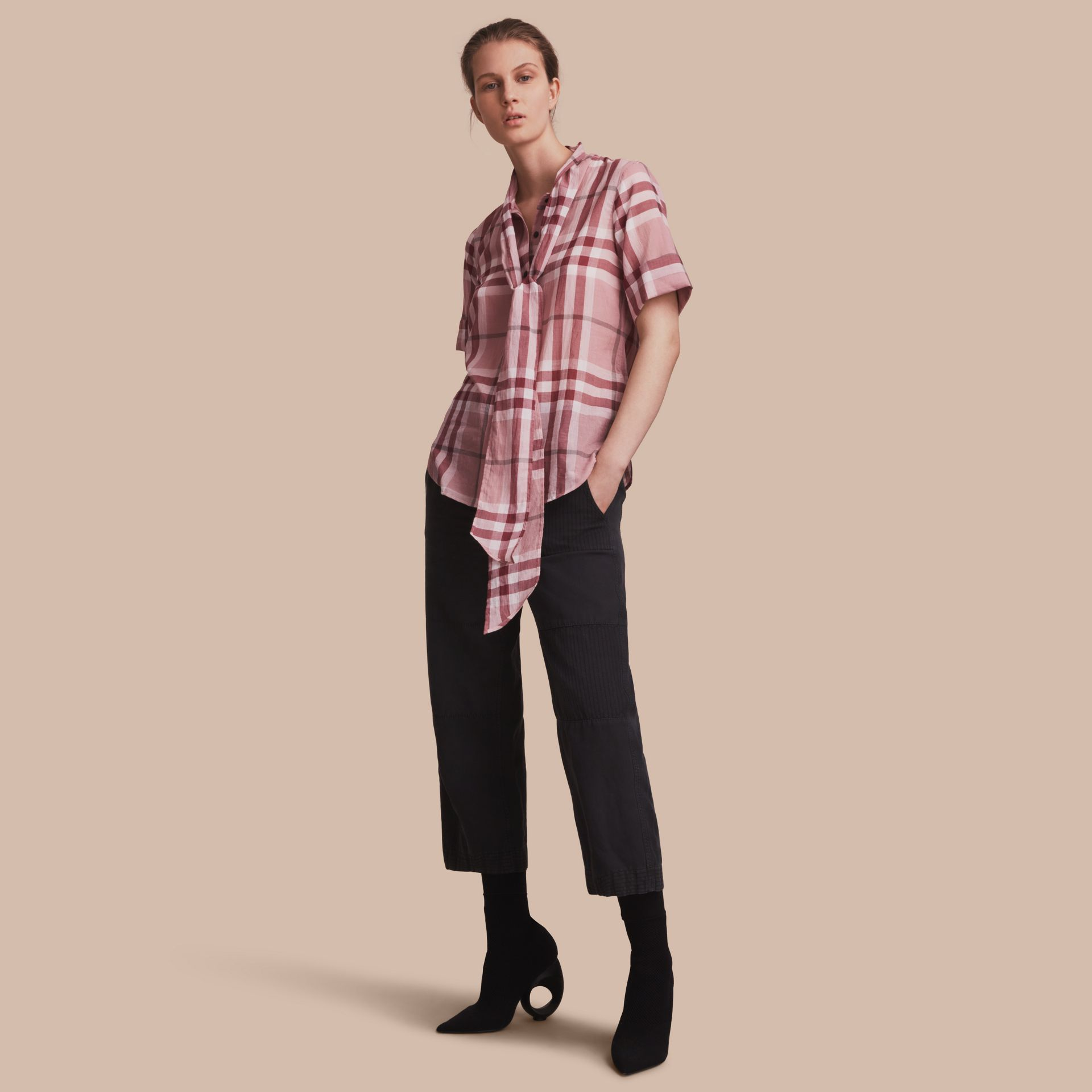 Short-sleeve Check Cotton Tie Neck Shirt Antique Pink - gallery image 1