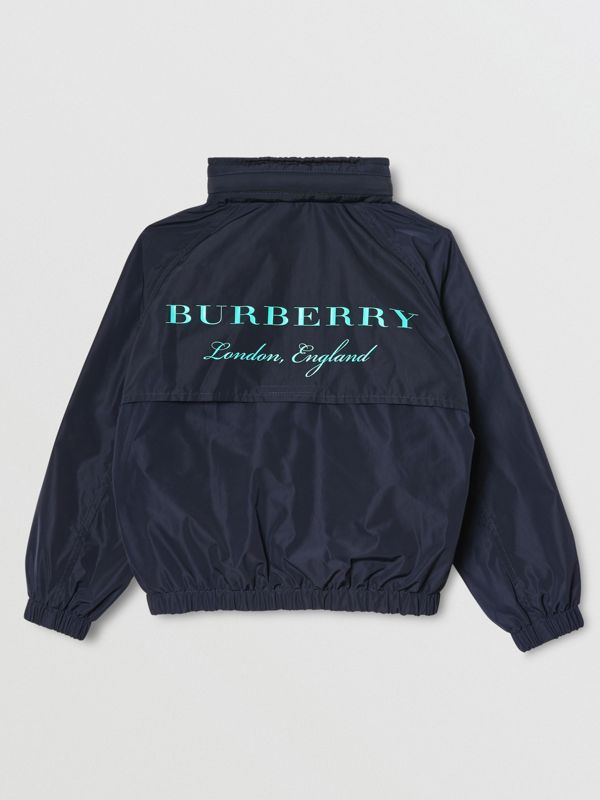 Packaway Hood Shape-memory Taffeta Jacket in Navy - Children | Burberry - cell image 3