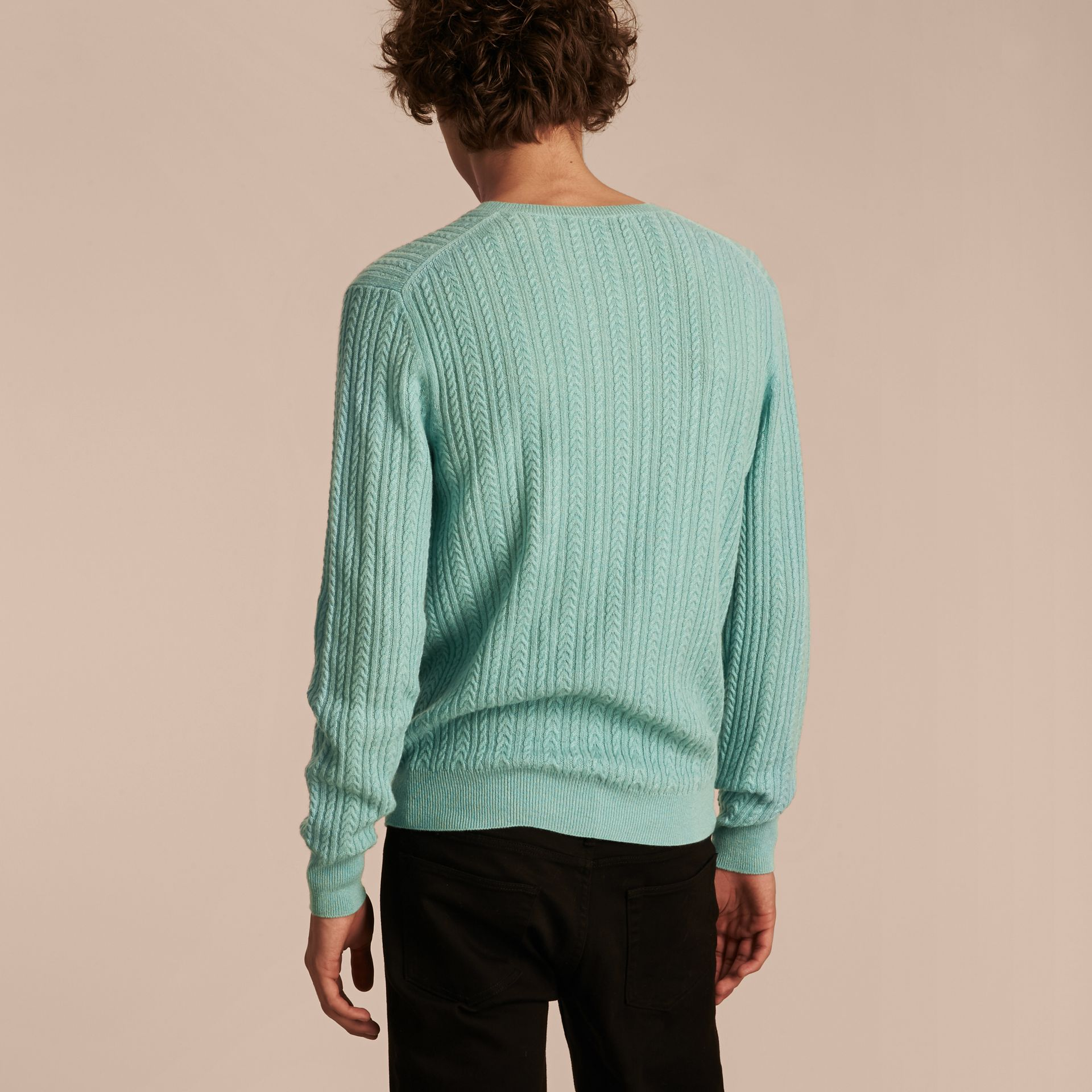 Pale peridot blue Aran Knit Cashmere Sweater Pale Peridot Blue - gallery image 3