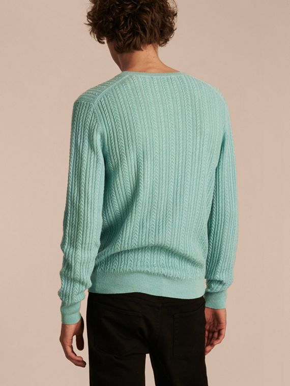 Pale peridot blue Aran Knit Cashmere Sweater Pale Peridot Blue - cell image 2