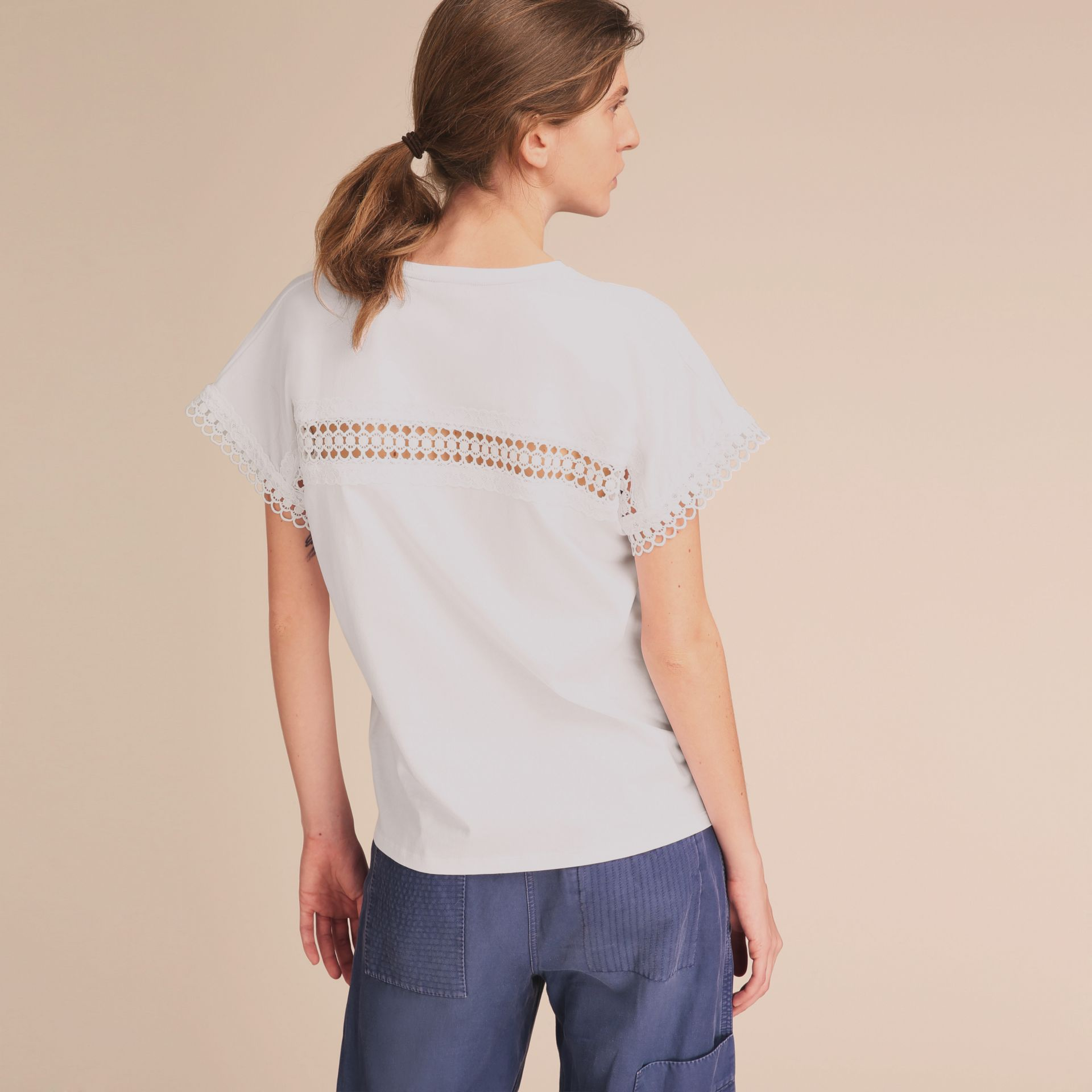 Lace Detail Cotton T-shirt White - gallery image 3