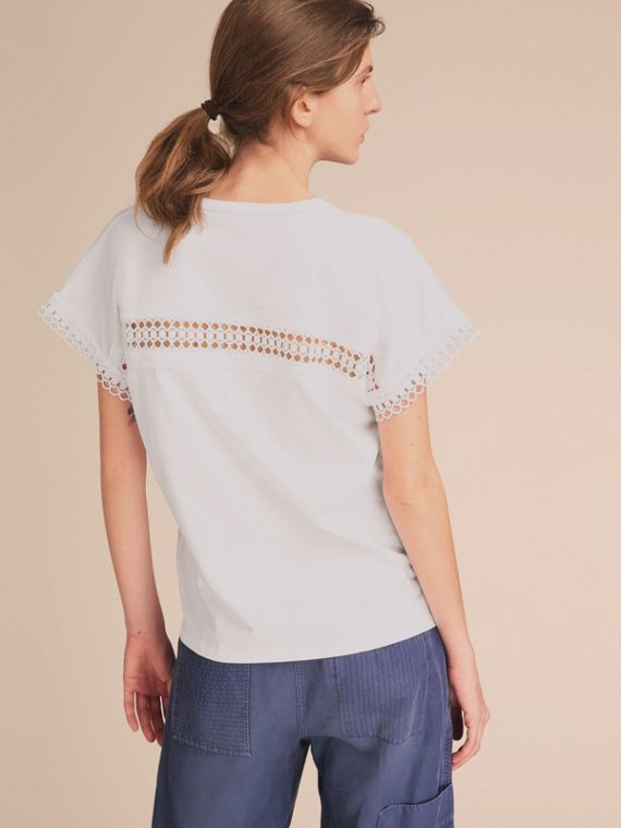 Lace Detail Cotton T-shirt White - cell image 2