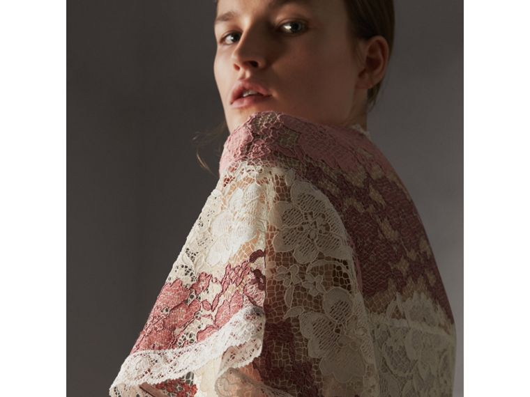 Floral Lace Dress with Flutter Sleeves in Dusty Pink - Women | Burberry - cell image 1