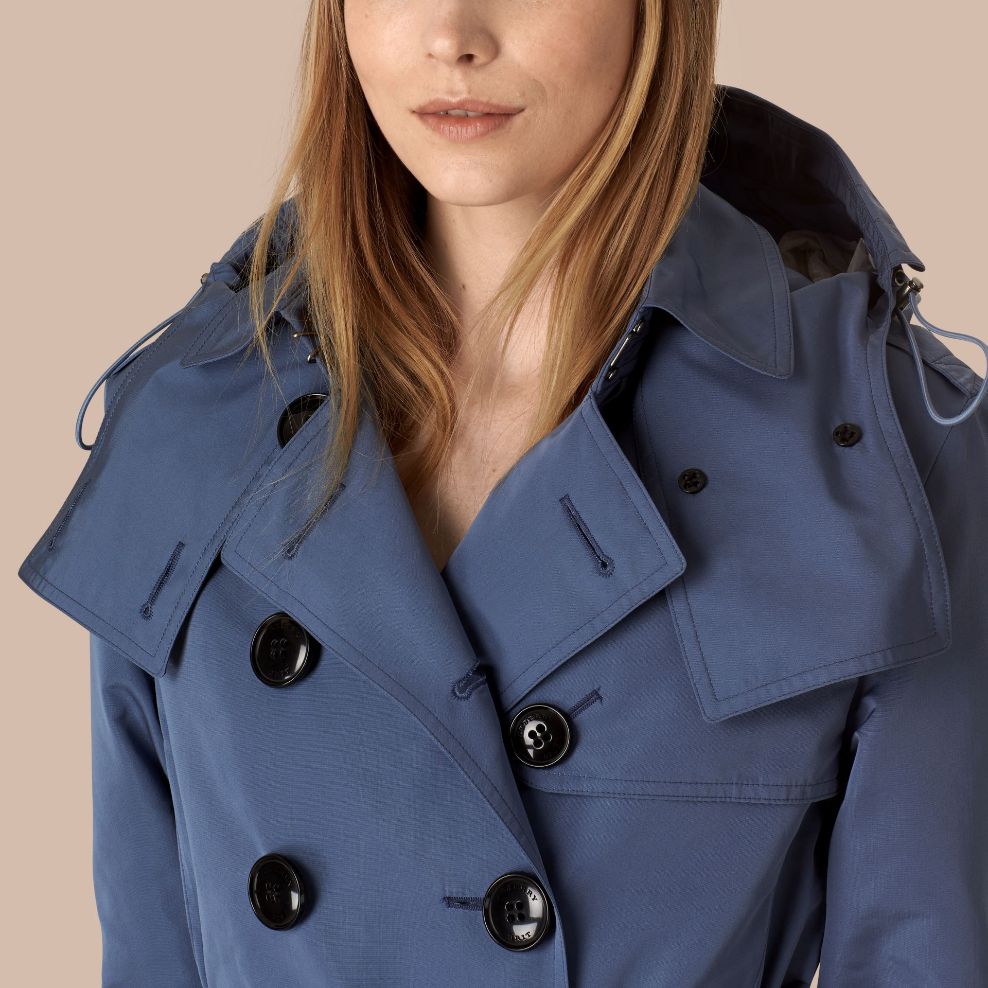 Pale lupin blue Showerproof Trench Coat with Detachable Hood Pale Lupin Blue - gallery image 4