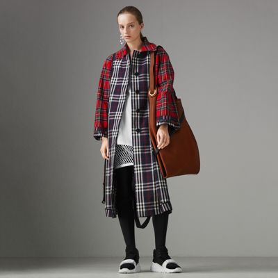 Patchwork Checked Cotton Trench Coat, Navy