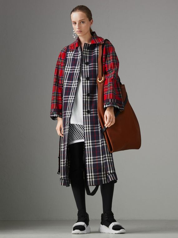Check and Tartan Cotton Trench Coat in Navy