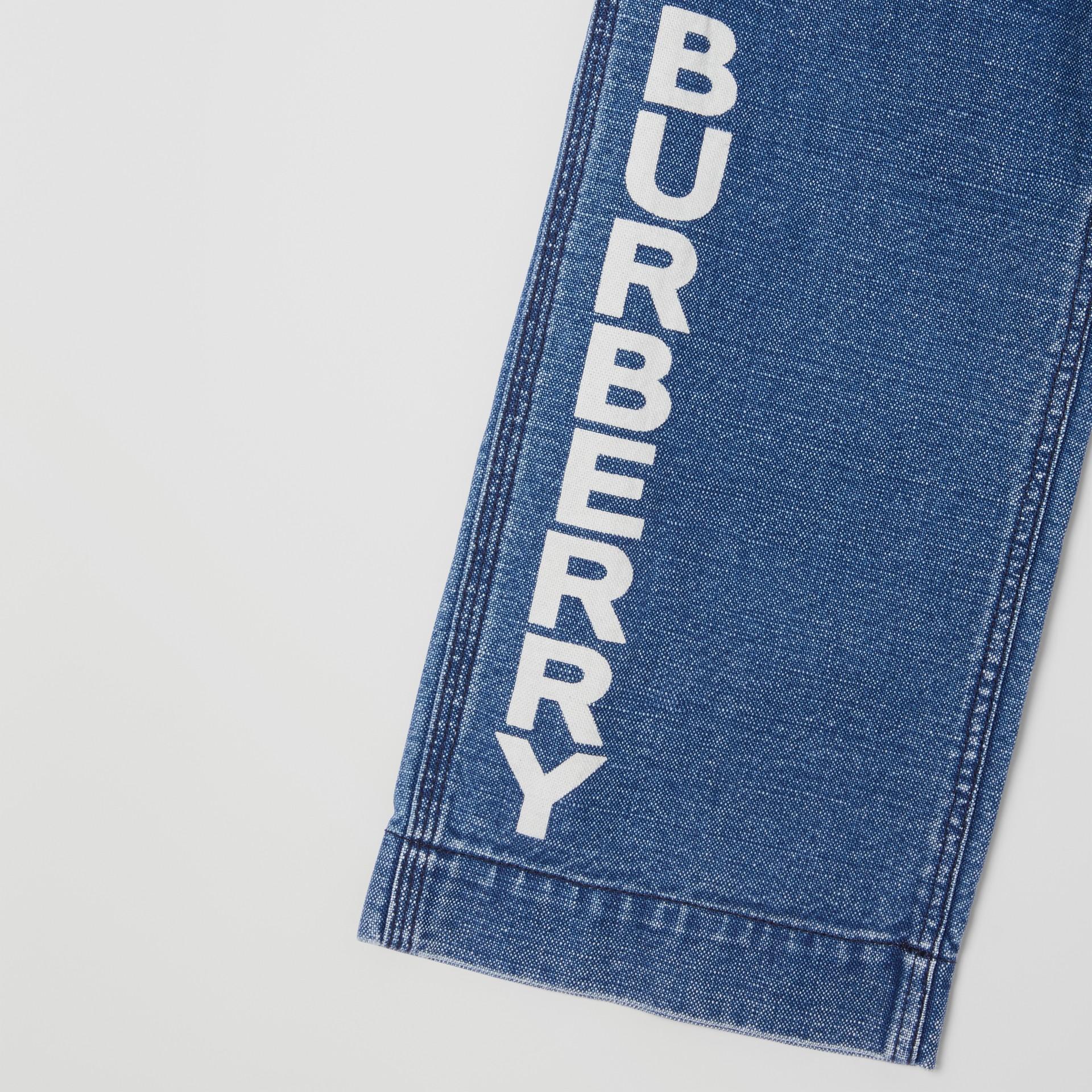 Logo Print Japanese Denim Jeans in Indigo - Girl   Burberry - gallery image 4