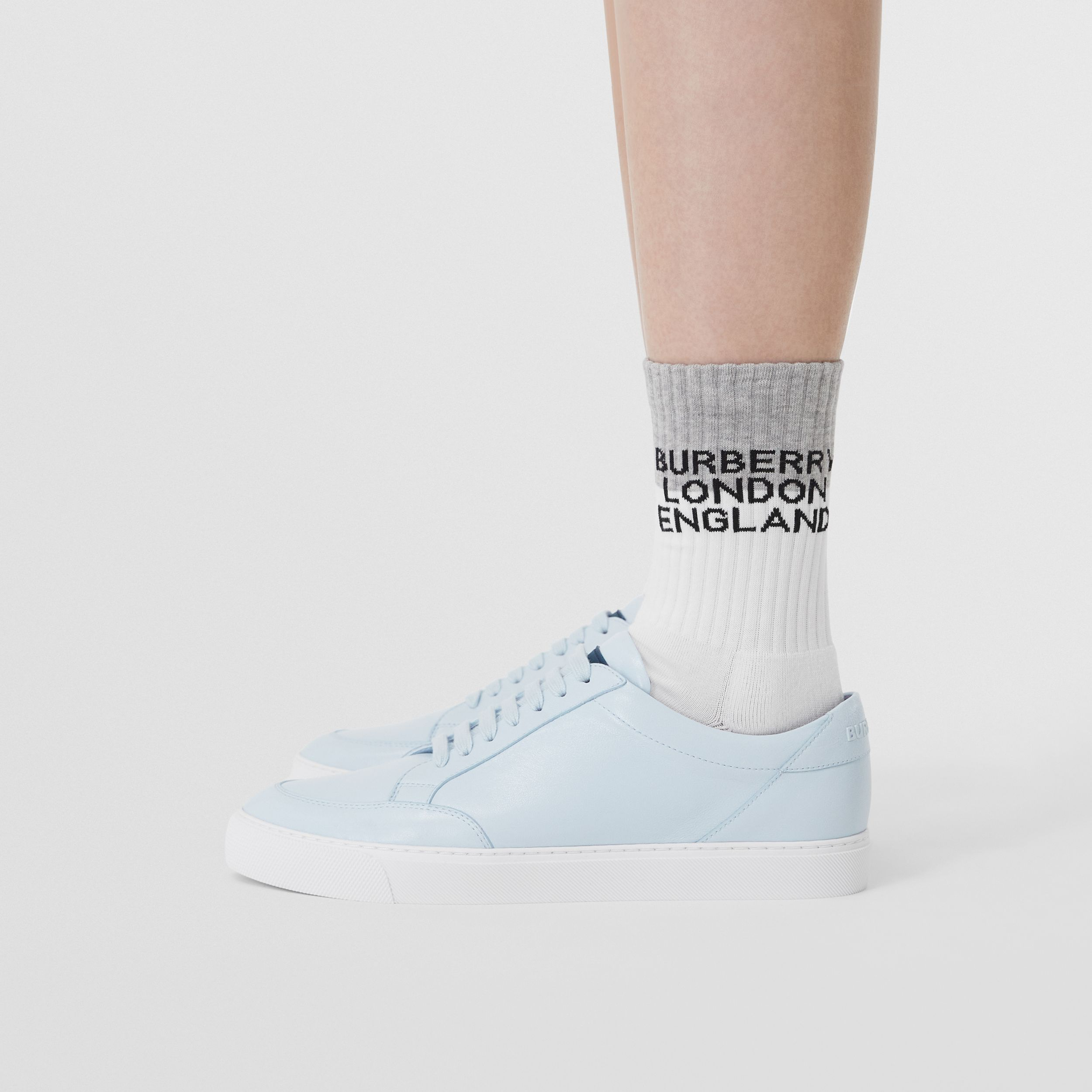 Logo Detail Lambskin Sneakers in Pale Blue - Women | Burberry - 3