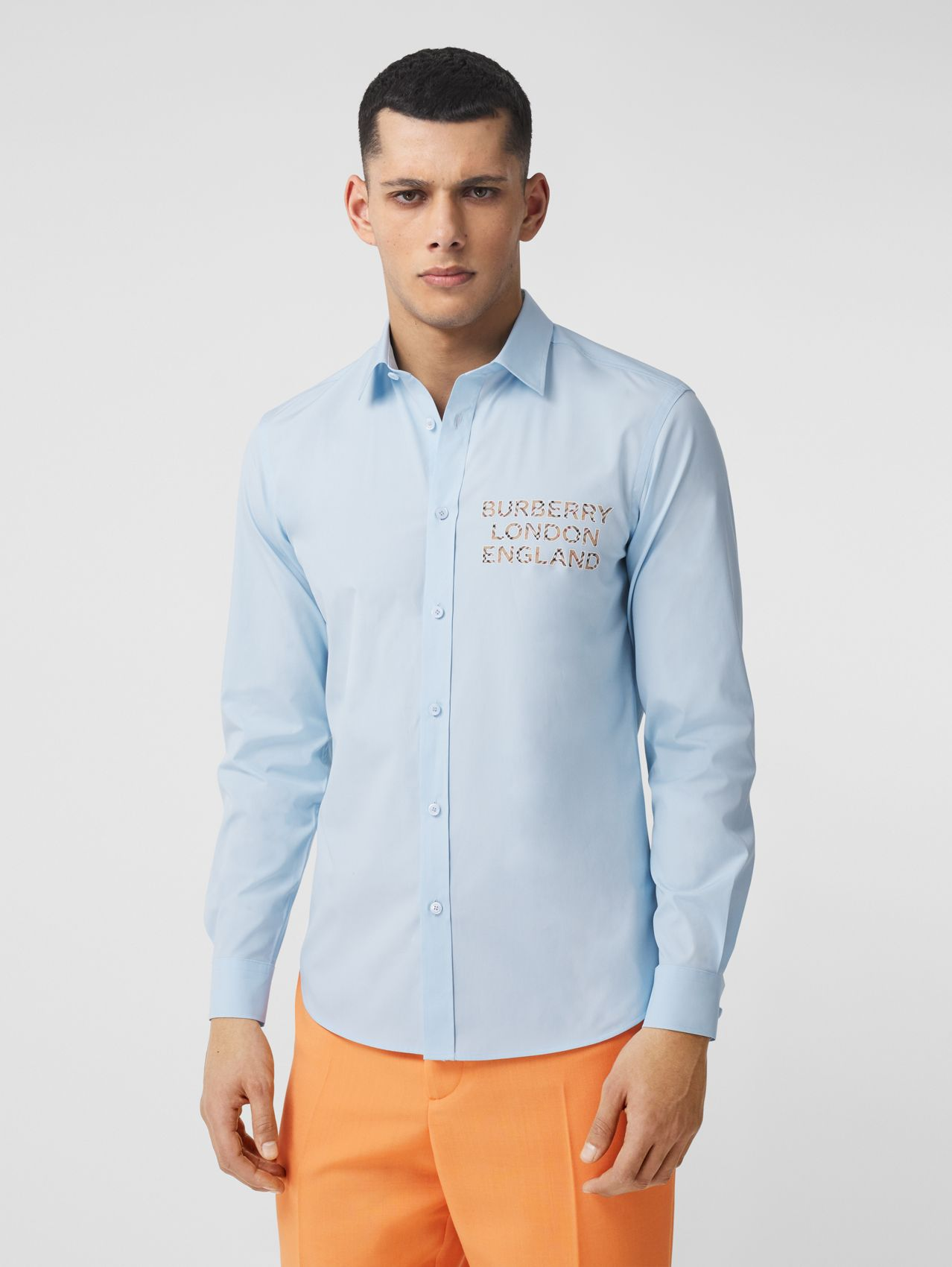 Logo Appliqué Stretch Cotton Poplin Shirt in Pale Blue