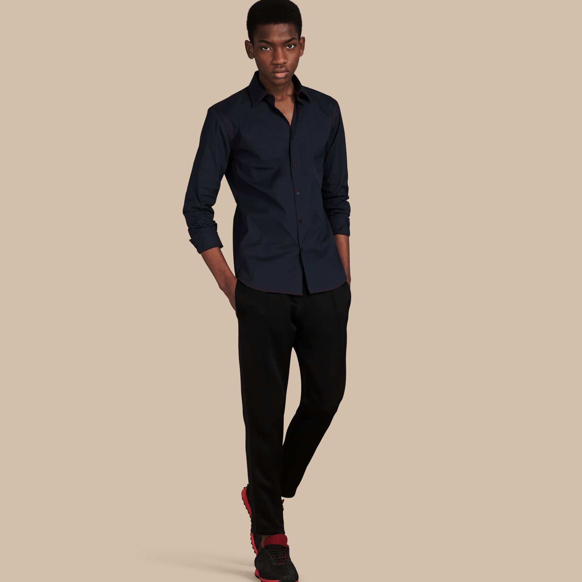 Navy Contrast Topstitch Stretch Cotton Shirt Navy - gallery image 1