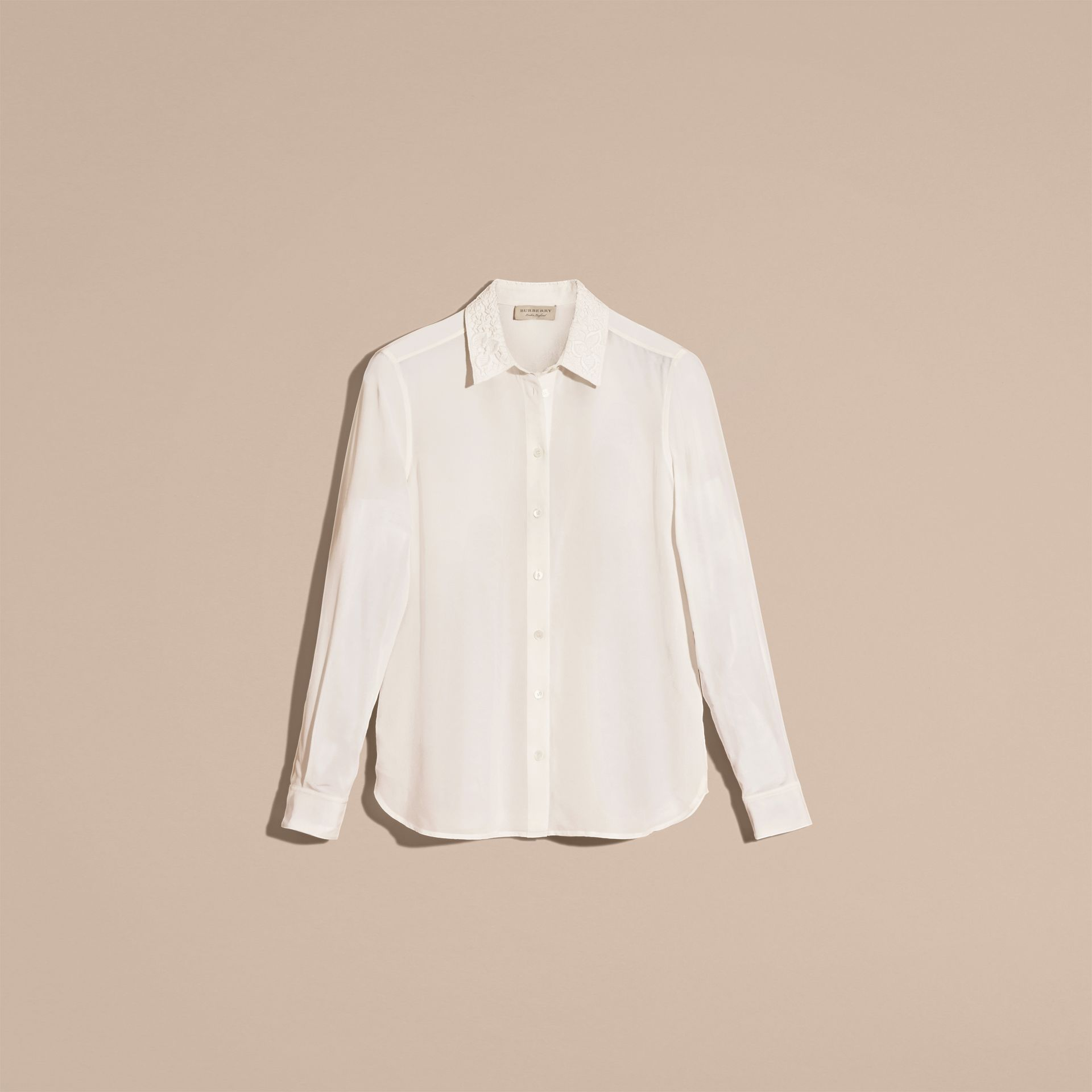 White Lace Collar Silk Shirt White - gallery image 4