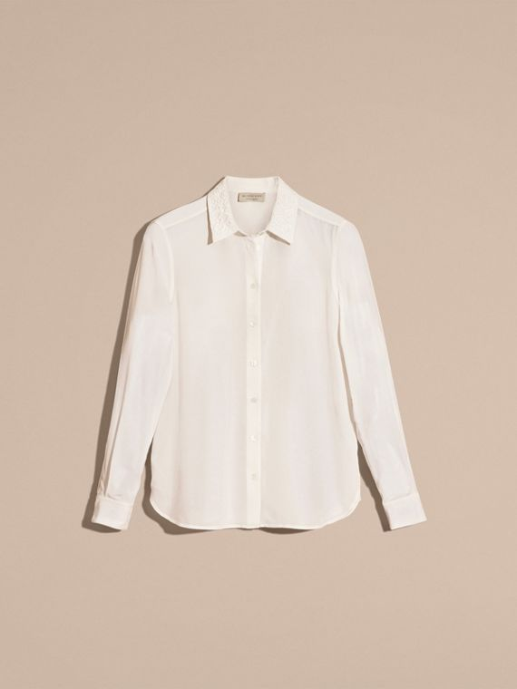 White Lace Collar Silk Shirt White - cell image 3