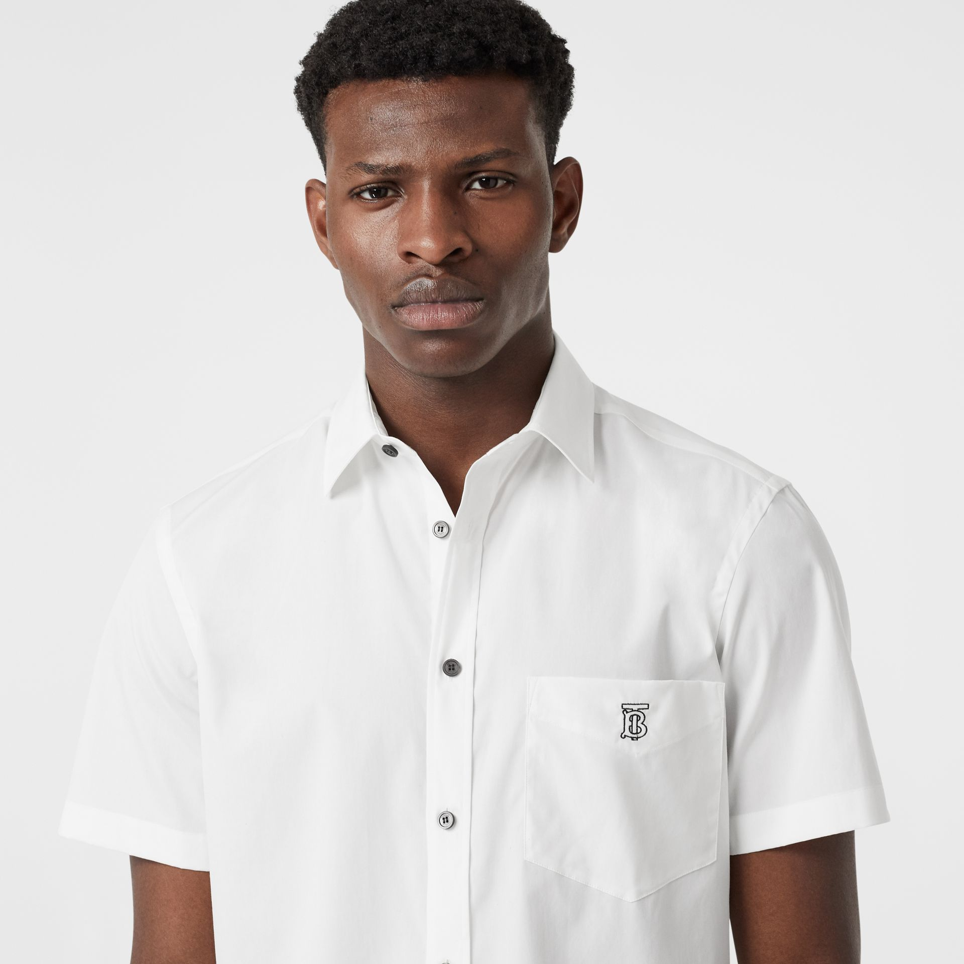 Short-sleeve Monogram Motif Stretch Cotton Shirt in White | Burberry - gallery image 1