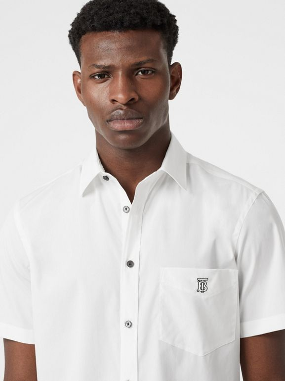 Short-sleeve Monogram Motif Stretch Cotton Shirt in White | Burberry - cell image 1