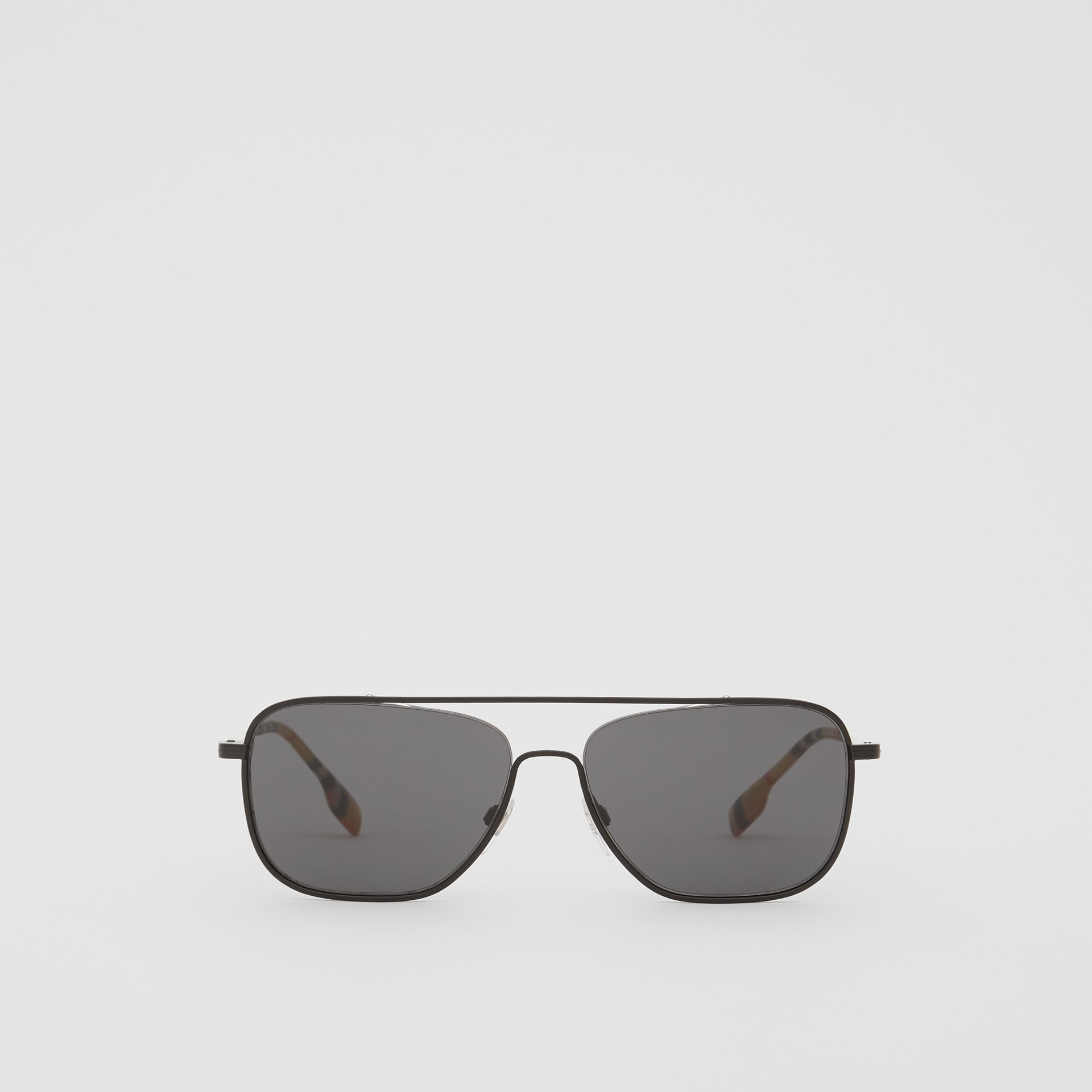 Top Bar Detail Square Frame Sunglasses in Matte Black - Men | Burberry Canada - gallery image 0