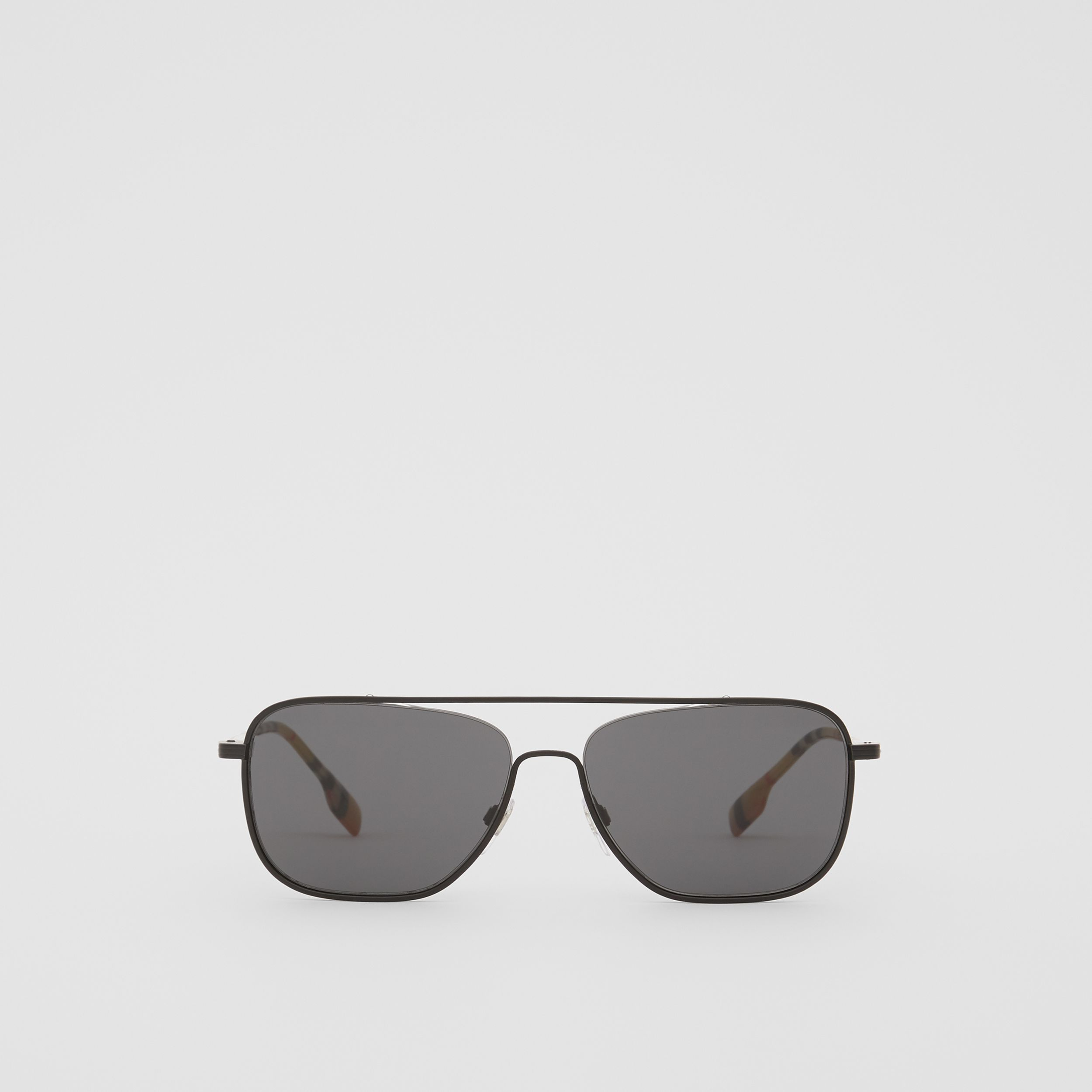 Top Bar Detail Square Frame Sunglasses in Matte Black - Men | Burberry - 1