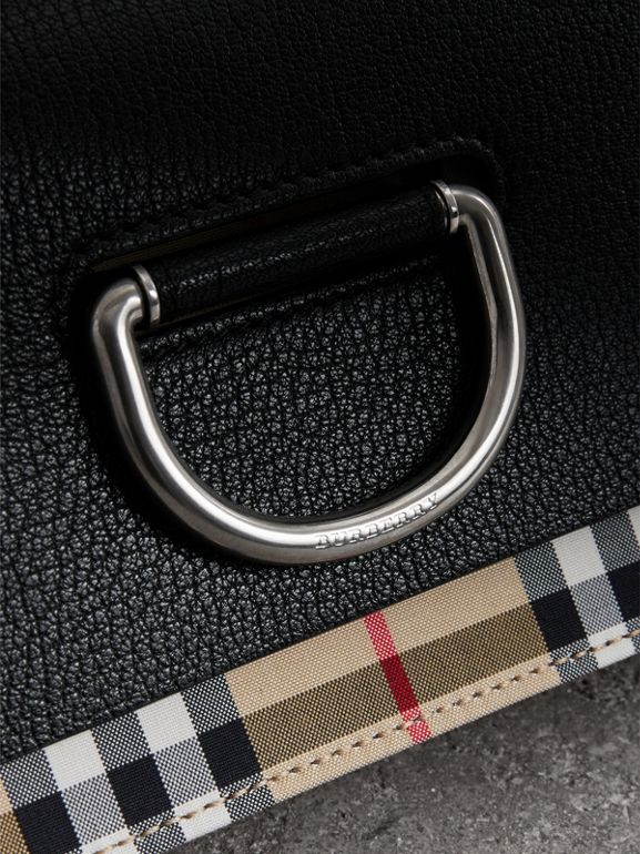 The Mini Vintage Check and Leather D-ring Bag in Black - Women | Burberry Australia - cell image 1