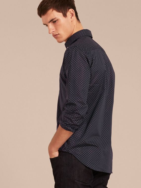 Navy Printed Cotton Poplin Shirt - cell image 2