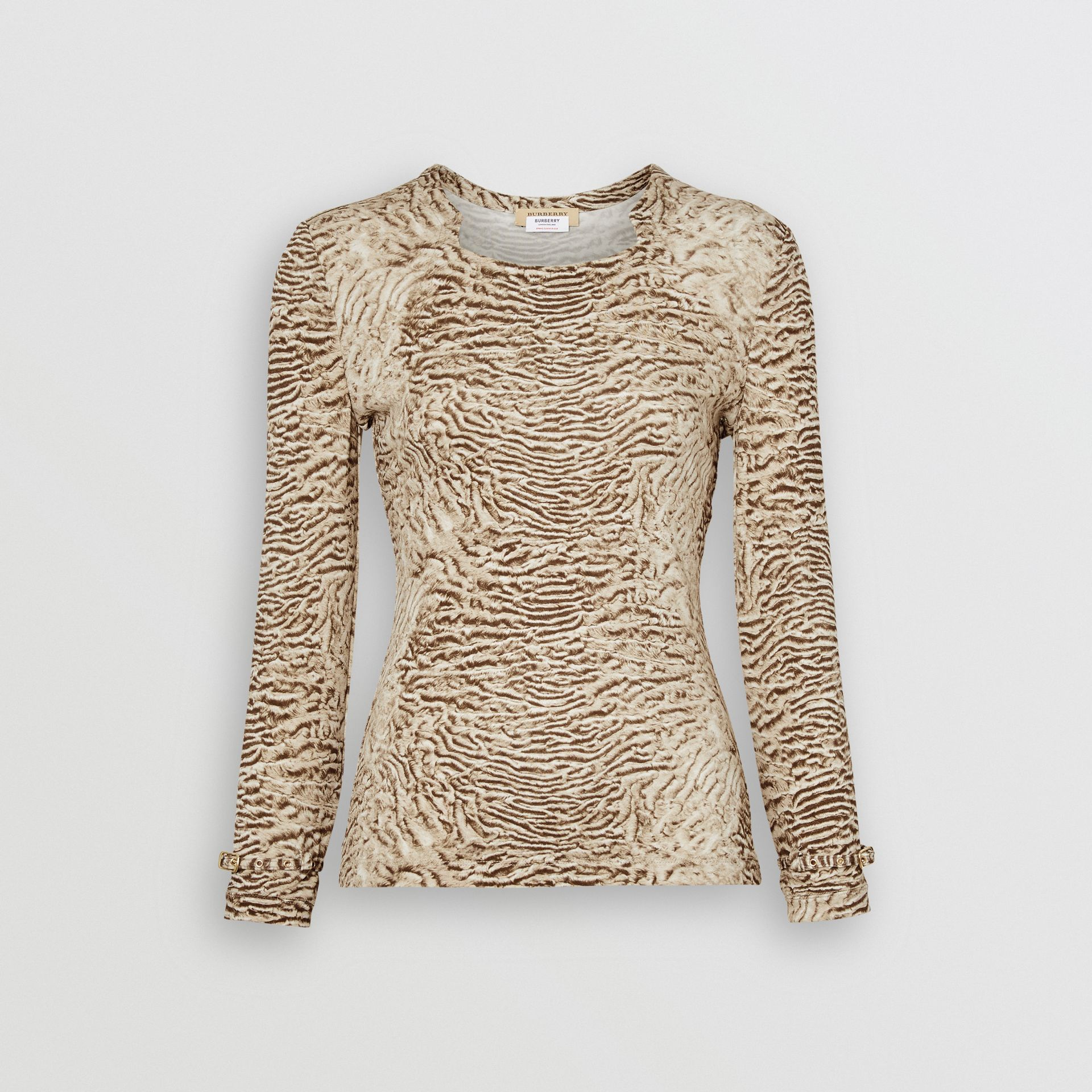 Astrakhan Print Stretch Jersey Top in Pale Taupe - Women | Burberry - gallery image 3