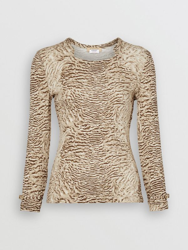 Astrakhan Print Stretch Jersey Top in Pale Taupe - Women | Burberry - cell image 3