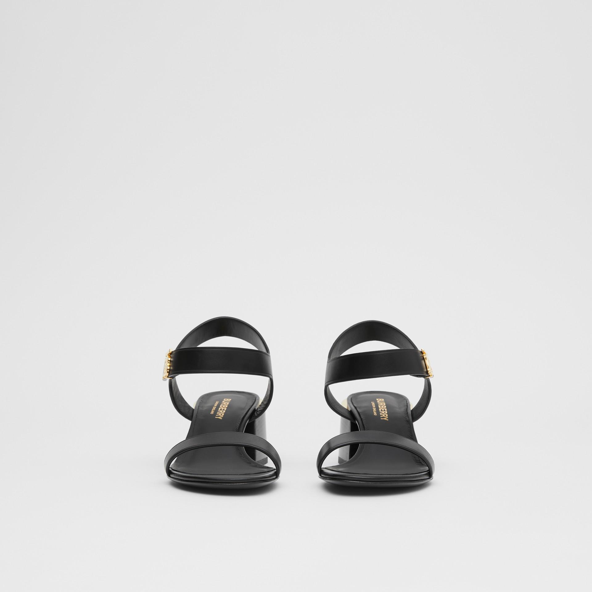 Monogram Motif Leather Block-heel Sandals in Black - Women | Burberry - gallery image 3
