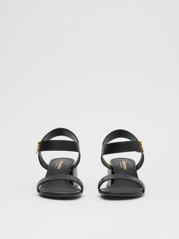 Monogram Motif Leather Block-heel Sandals in Black - Women | Burberry - cell image 3