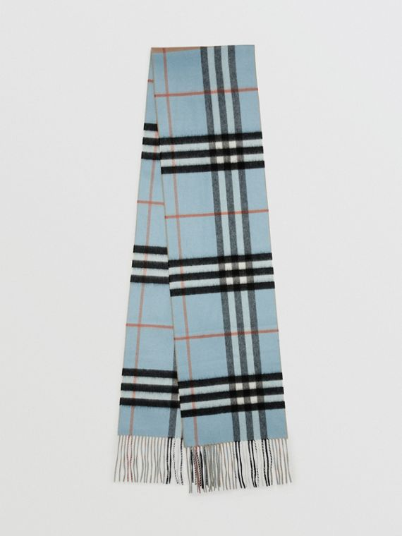 Long Reversible Colour Block Double-faced Cashmere Scarf in Pale Peridot Blue
