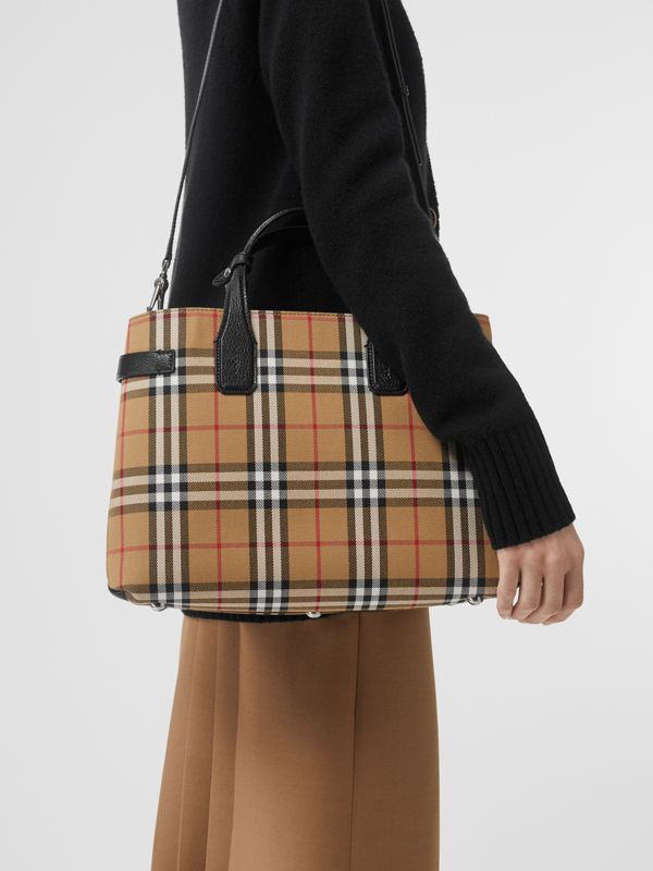 The Banner media in pelle con motivo Vintage check (Nero) - Donna | Burberry - cell image 2