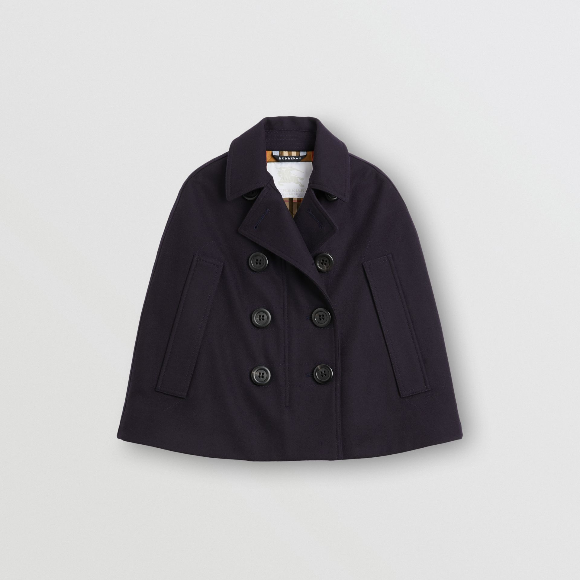 Wool Pea Coat Cape in Navy | Burberry Hong Kong - gallery image 0