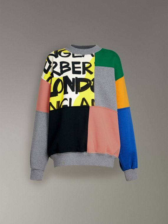Graffiti Print Panel Cotton Blend Sweatshirt in Multicolour - Women | Burberry - cell image 3