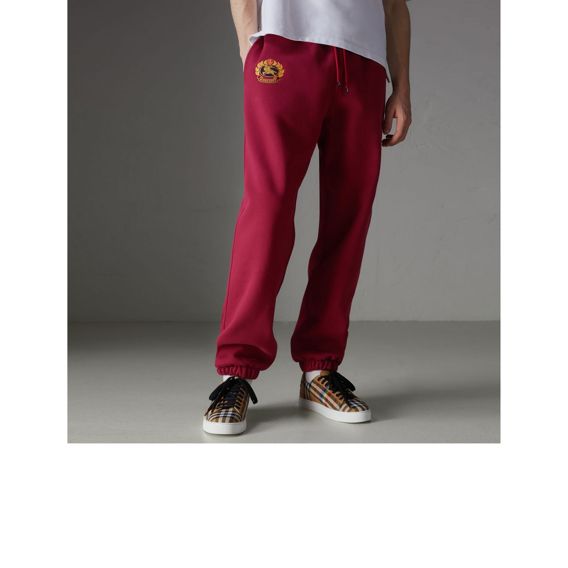 Archive Logo Jersey Sweatpants in Light Burgundy - Men | Burberry Singapore - gallery image 4